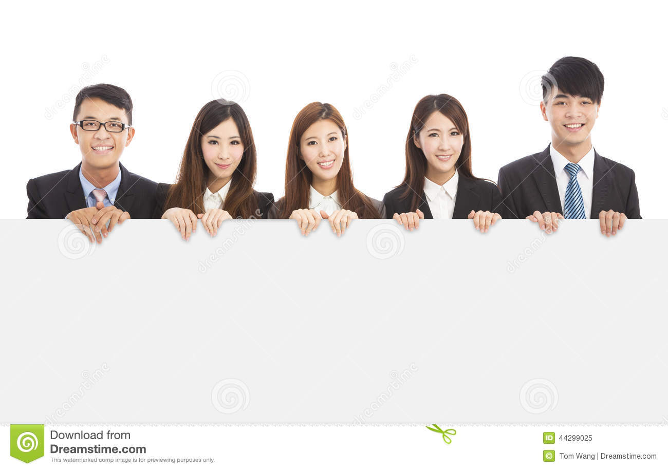Asian Young Business People Holding White Board Stock