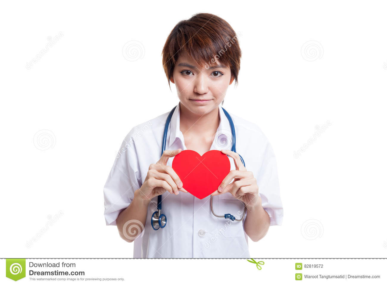 Asian young female doctor hold a red heart.