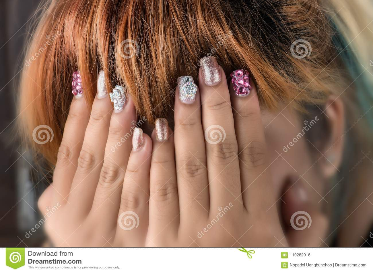 Asian Young Girl Homemade Fasion Nail By Oneself. Stock Photo ...