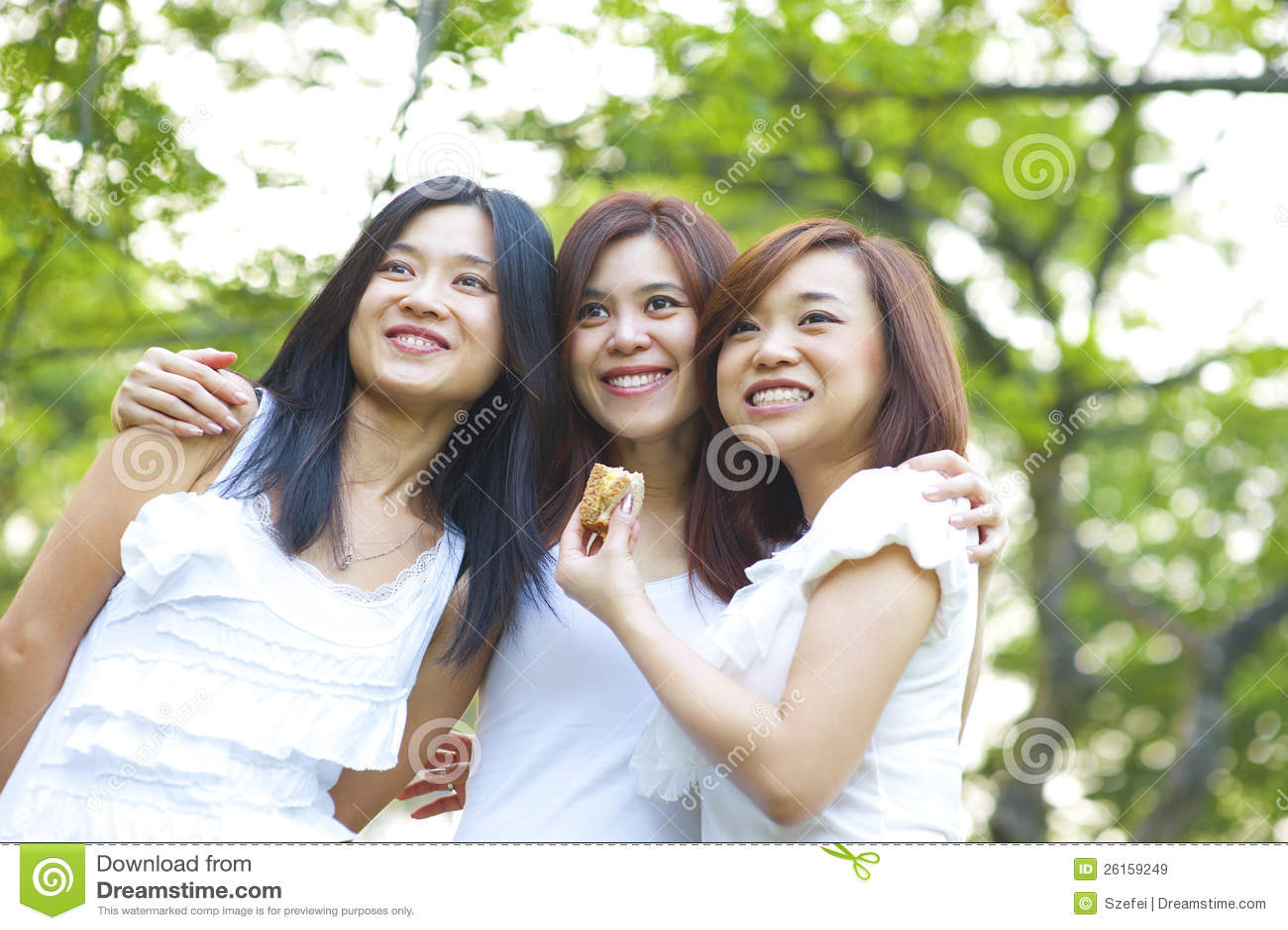 Asian young girls having fun