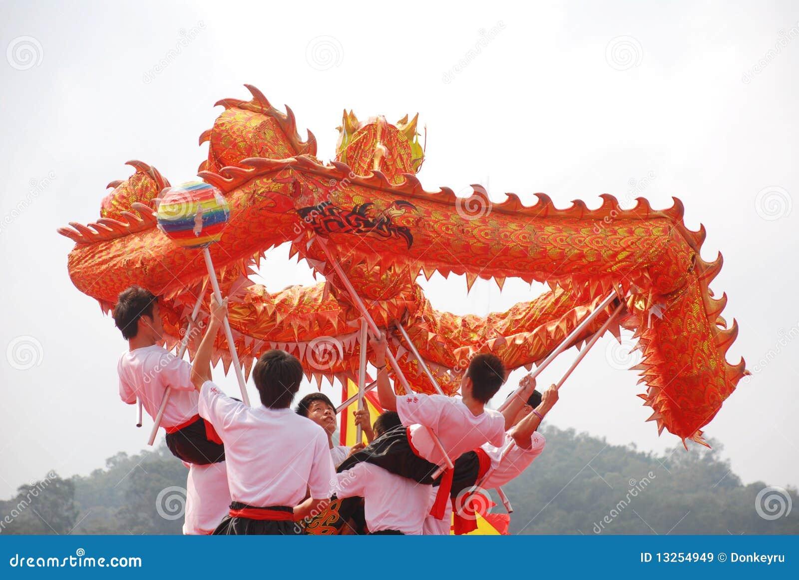 Asian young men dragon dance