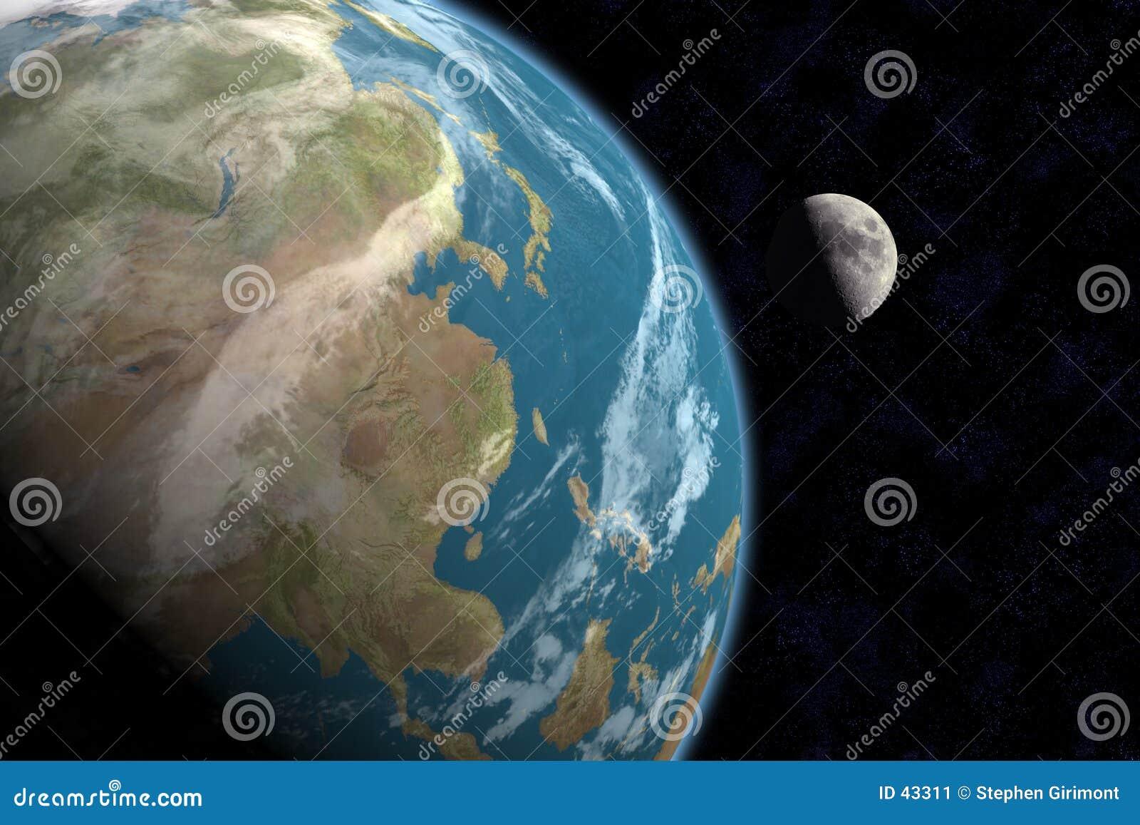 Asiat und Mond mit Sternen