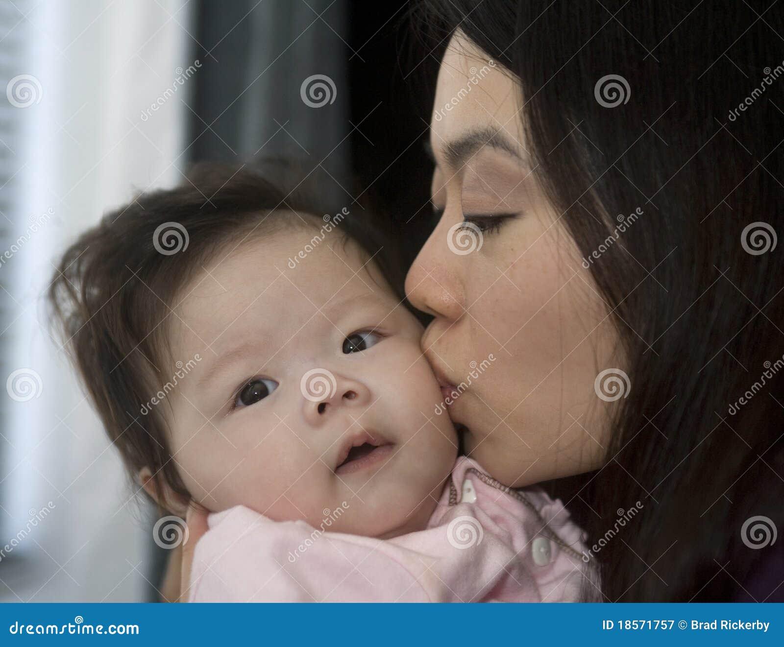 Asiatische Mutter küßt ihre Tochter