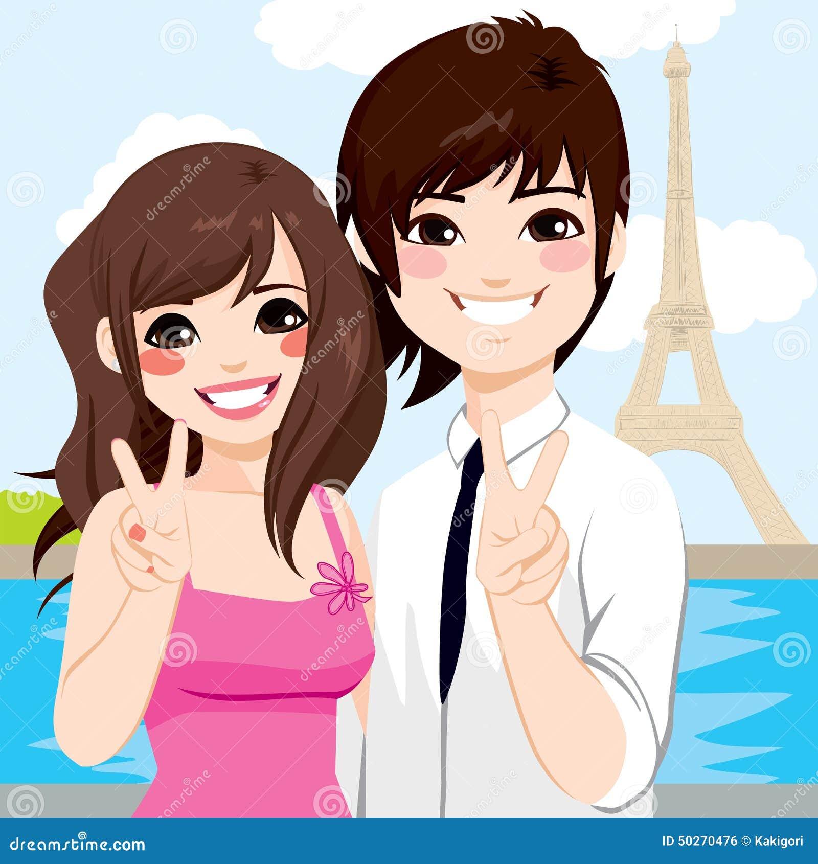 Asiatische Paar-Paris-Flitterwochen