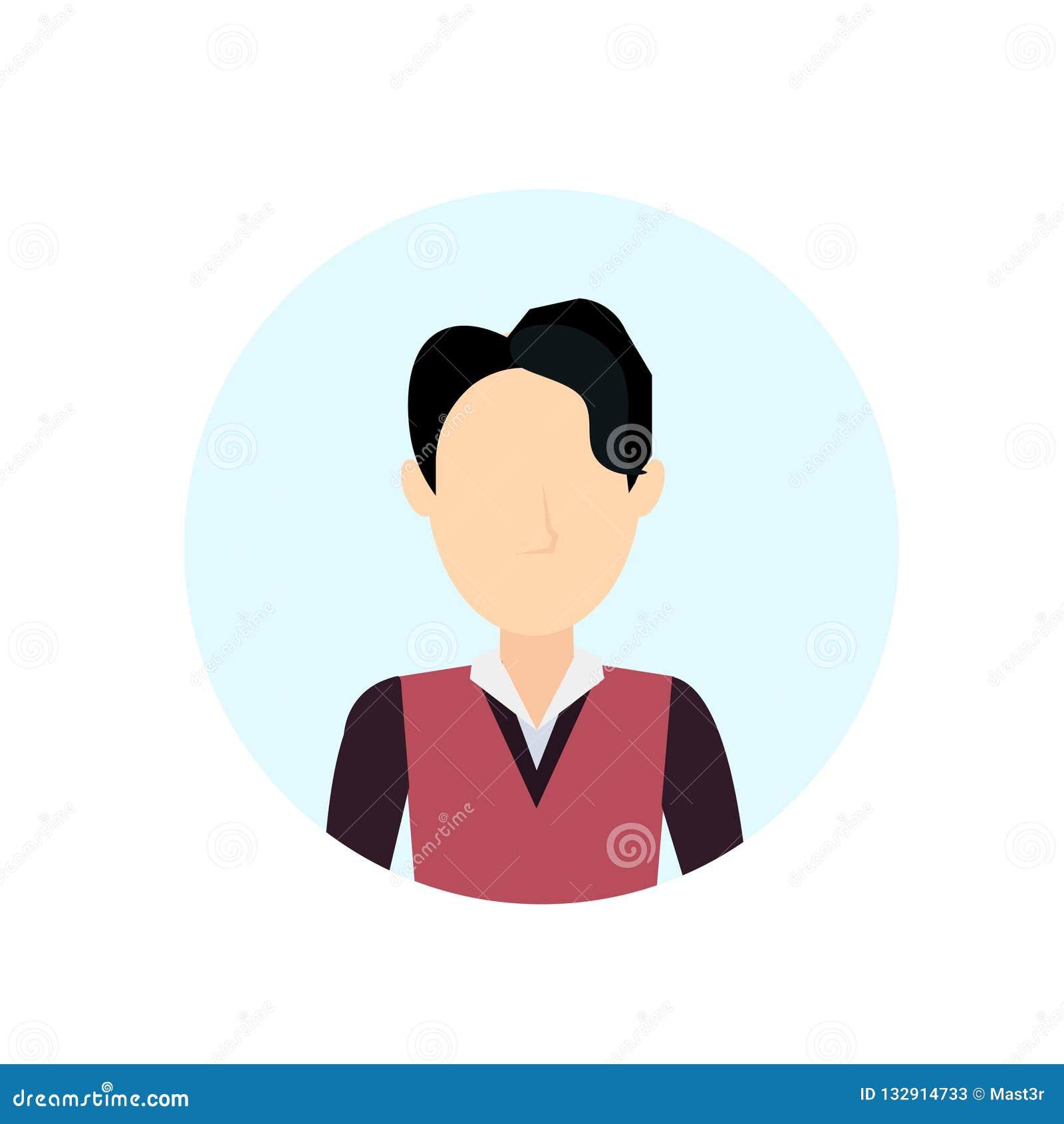 Asiatischer Mannavatara lokalisierte gesichtslose männliche Zeichentrickfilm-Figur-Porträtebene
