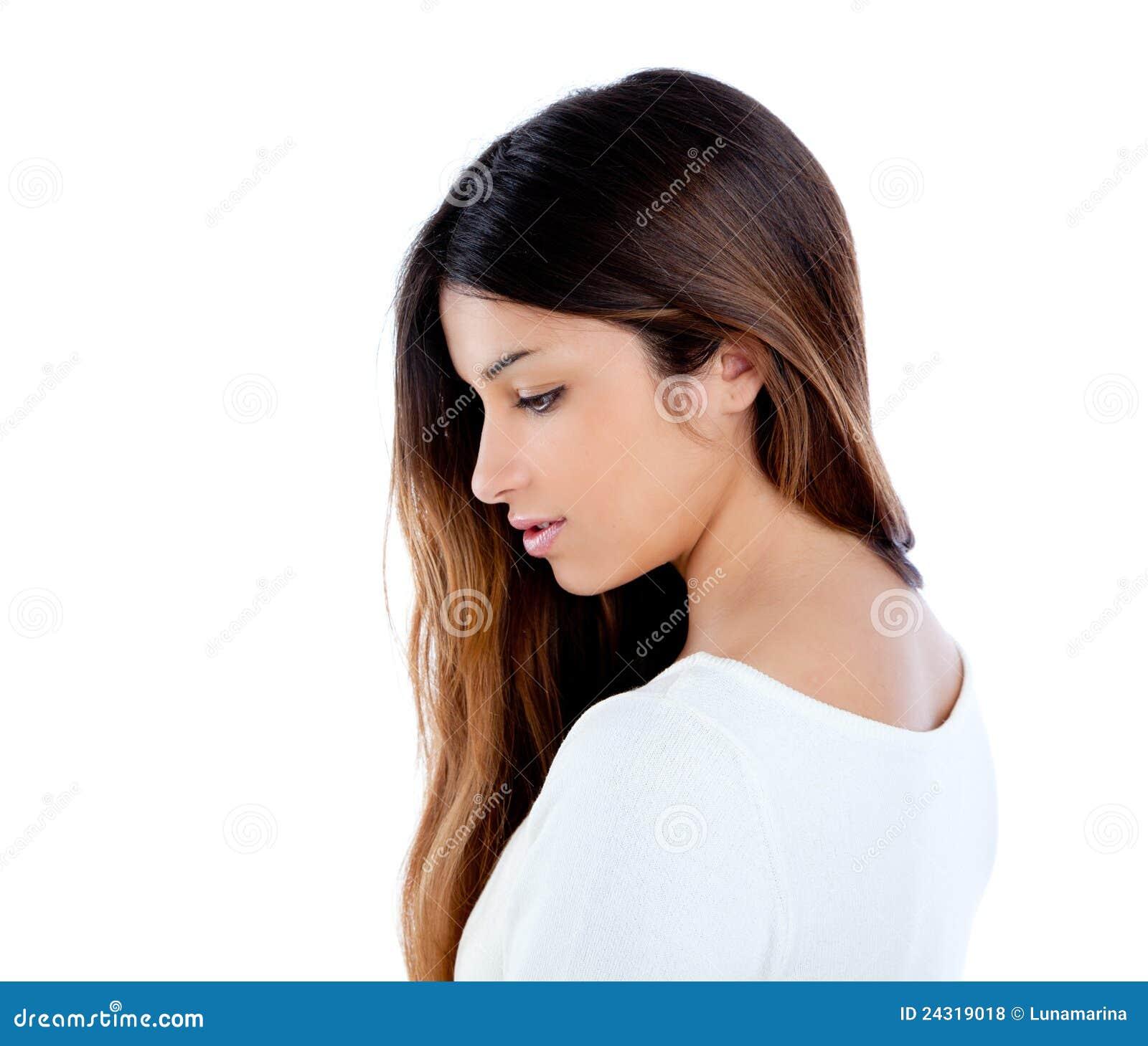 Asiatisches indisches Profilmädchen Brunetteportrait