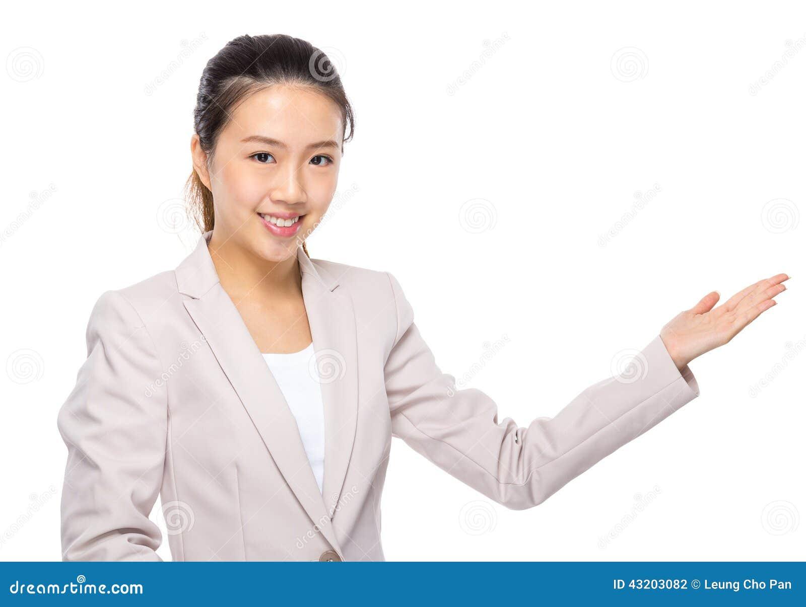 Download Asiatisk Affärskvinna Med Handpresentation Arkivfoto - Bild av tjänsteman, chef: 43203082
