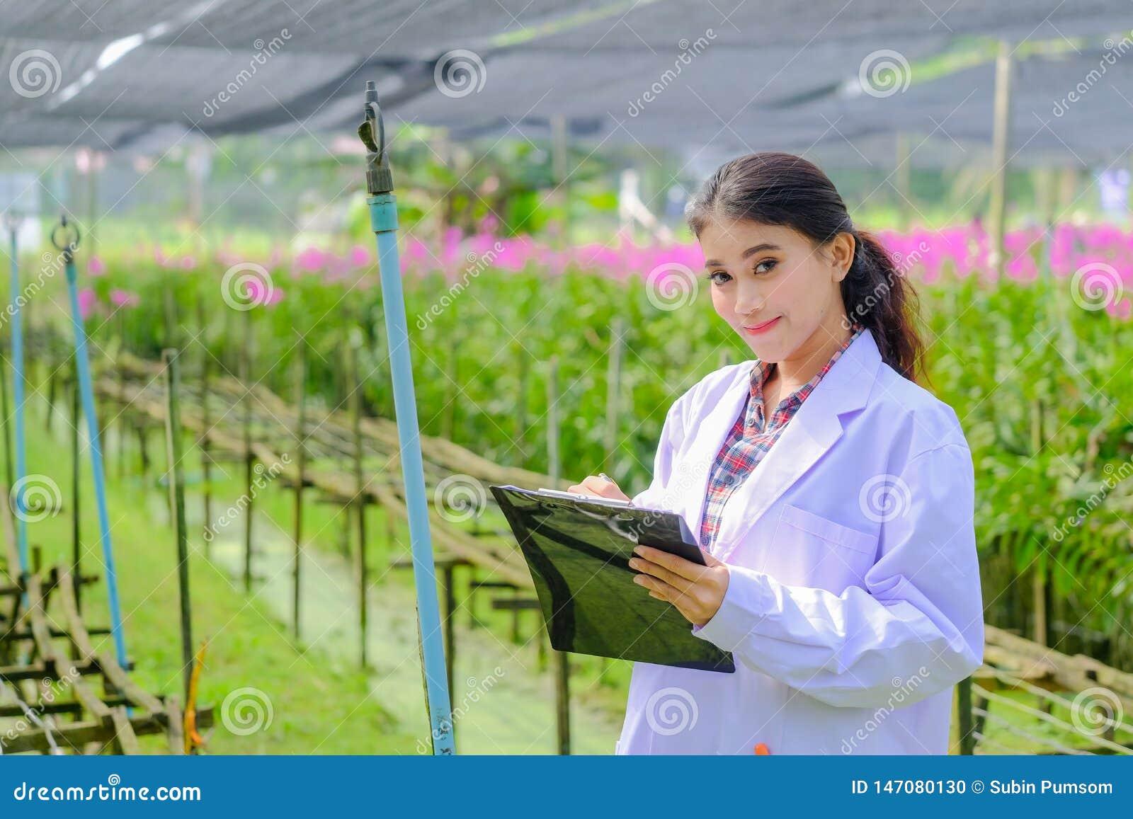 Asiatisk kvinna, forskare i den vita klänningen och att undersöka orkidéträdgården för forskningutveckling av ny orkidéart