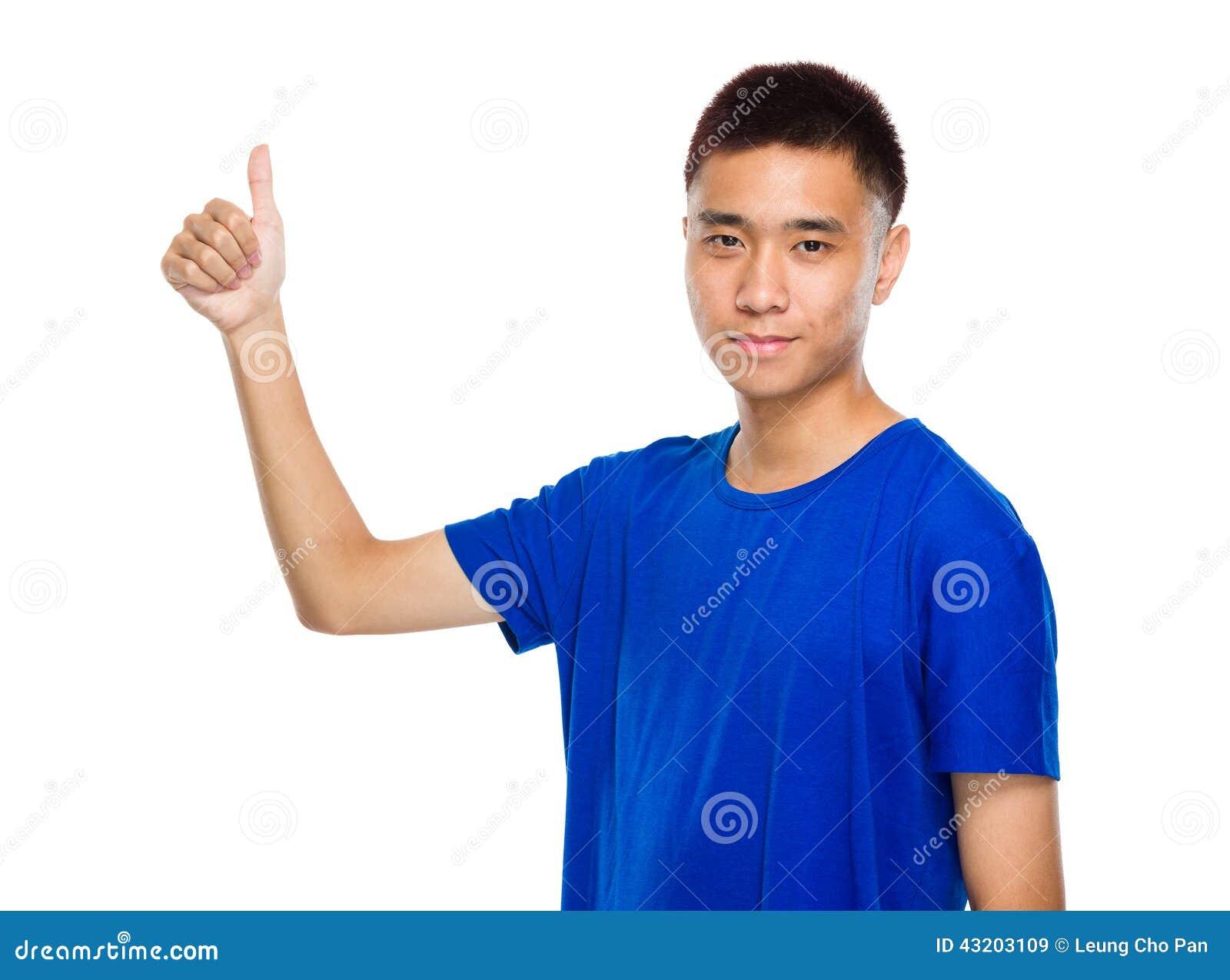 Download Asiatisk Ung Man Med Tummen Upp Fotografering för Bildbyråer - Bild av person, appaloosas: 43203109