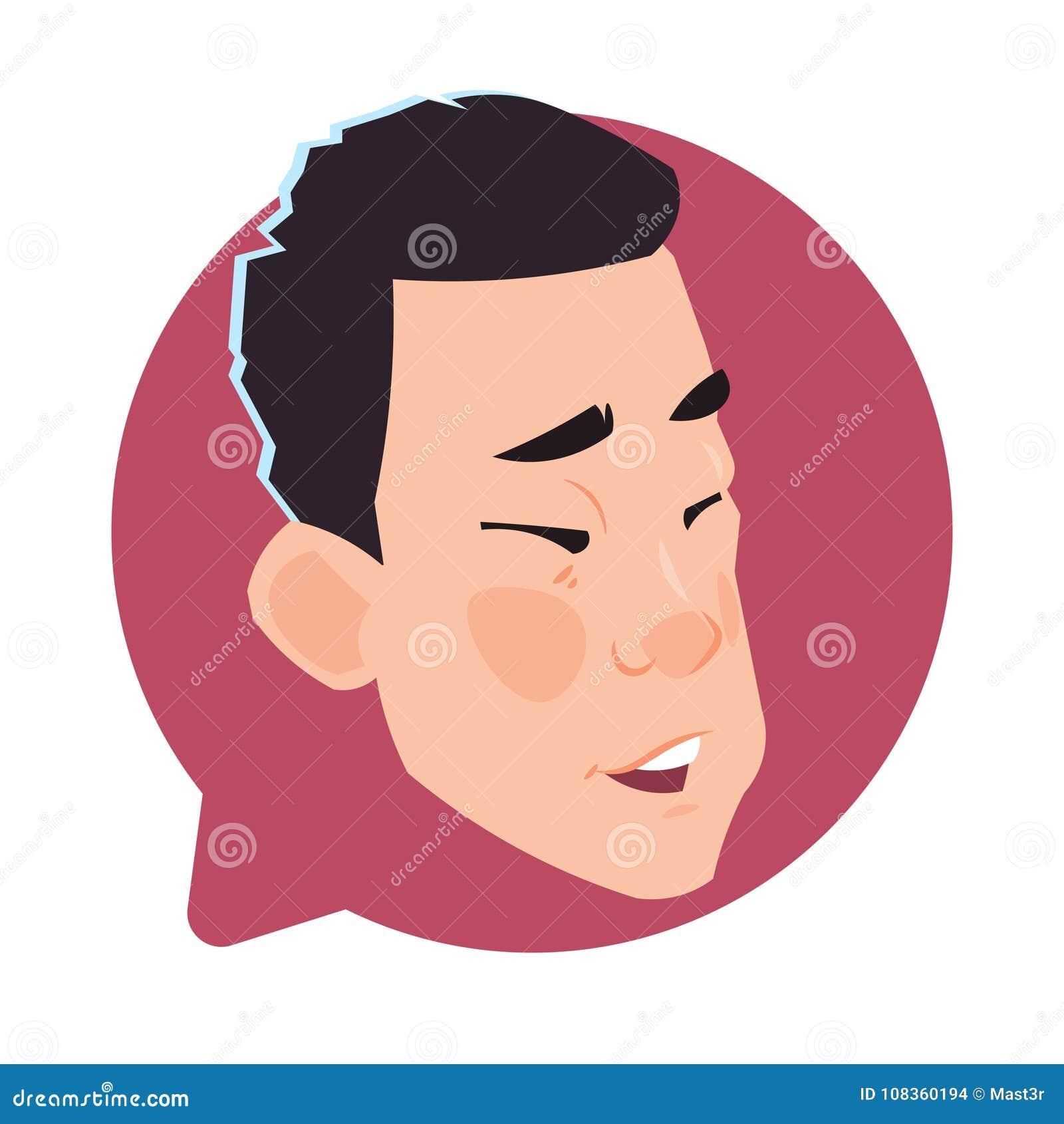Asiatiskt manligt huvud för profilsymbol i den isolerade pratstundbubblan, för Avatartecknad film för ung man stående för tecken
