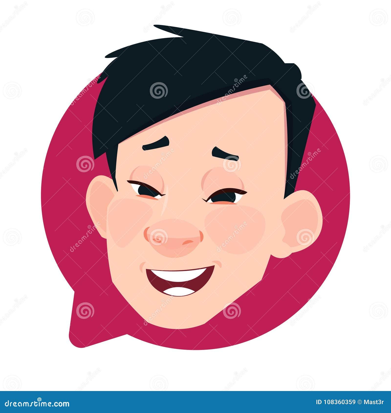 Asiatiskt manligt huvud för profilsymbol i den isolerade pratstundbubblan, stående för tecken för manAvatartecknad film