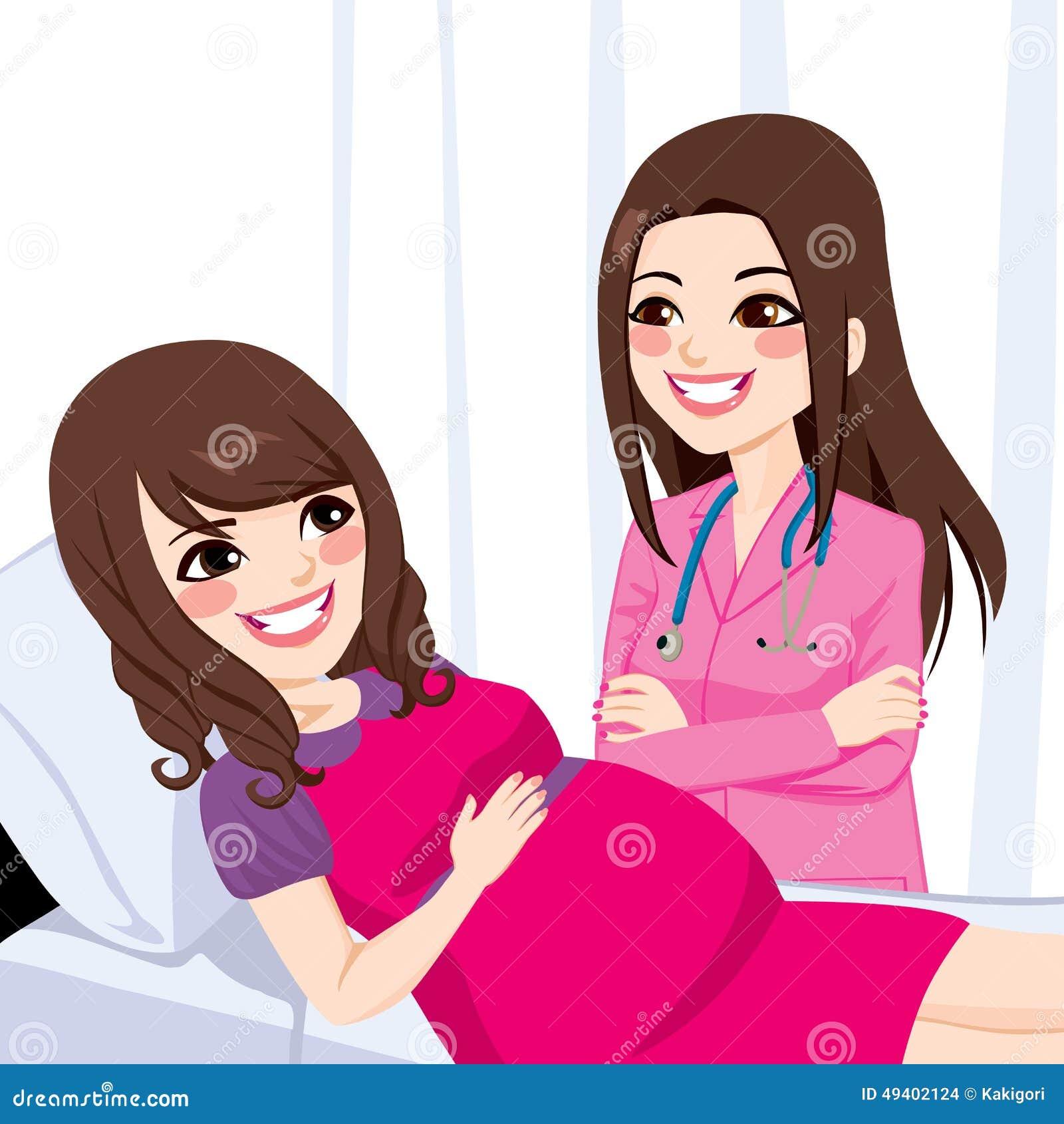 Download Asiats-schwangere Frau Mit Doktor Vektor Abbildung - Illustration von lügen, krankenhaus: 49402124