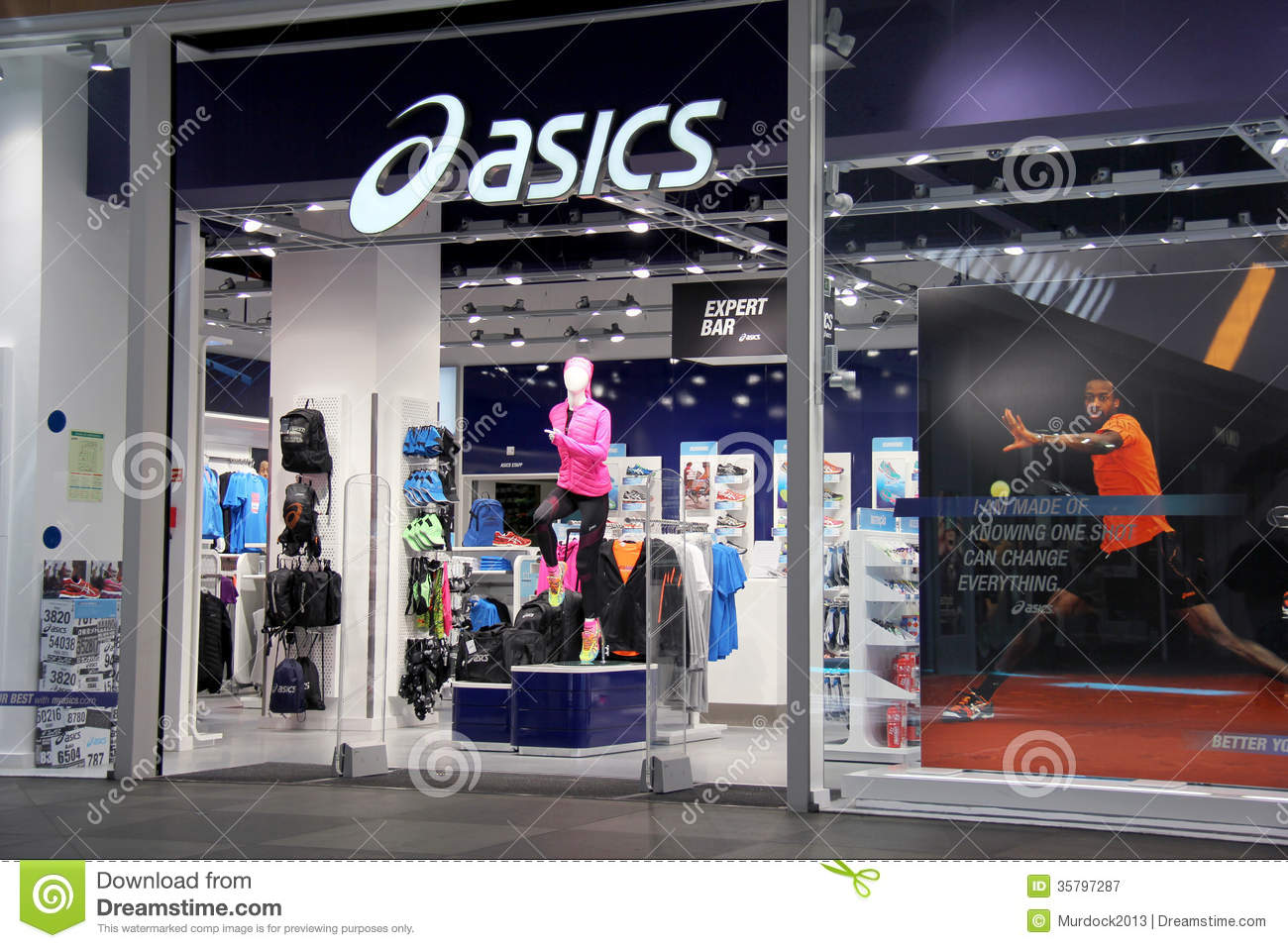 asics store front editorial photography image of foot