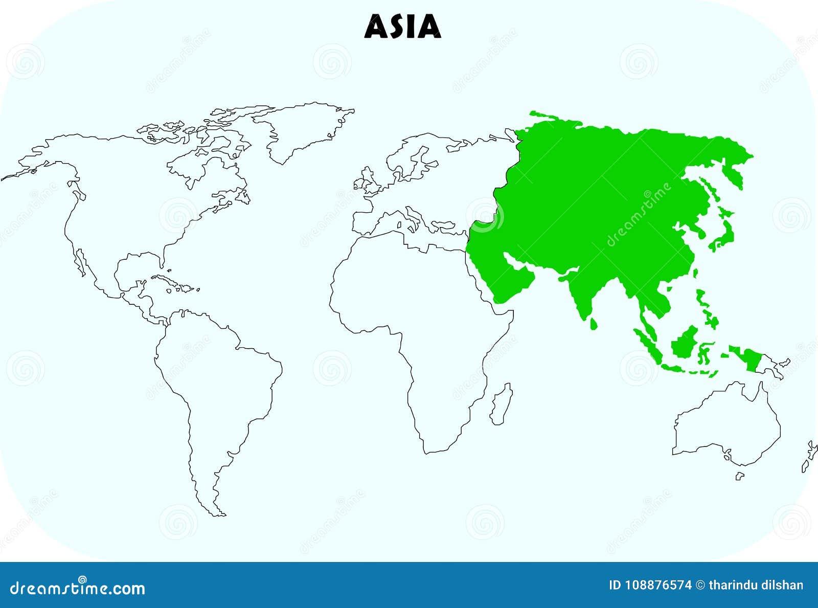 Asien kontinent i världskarta