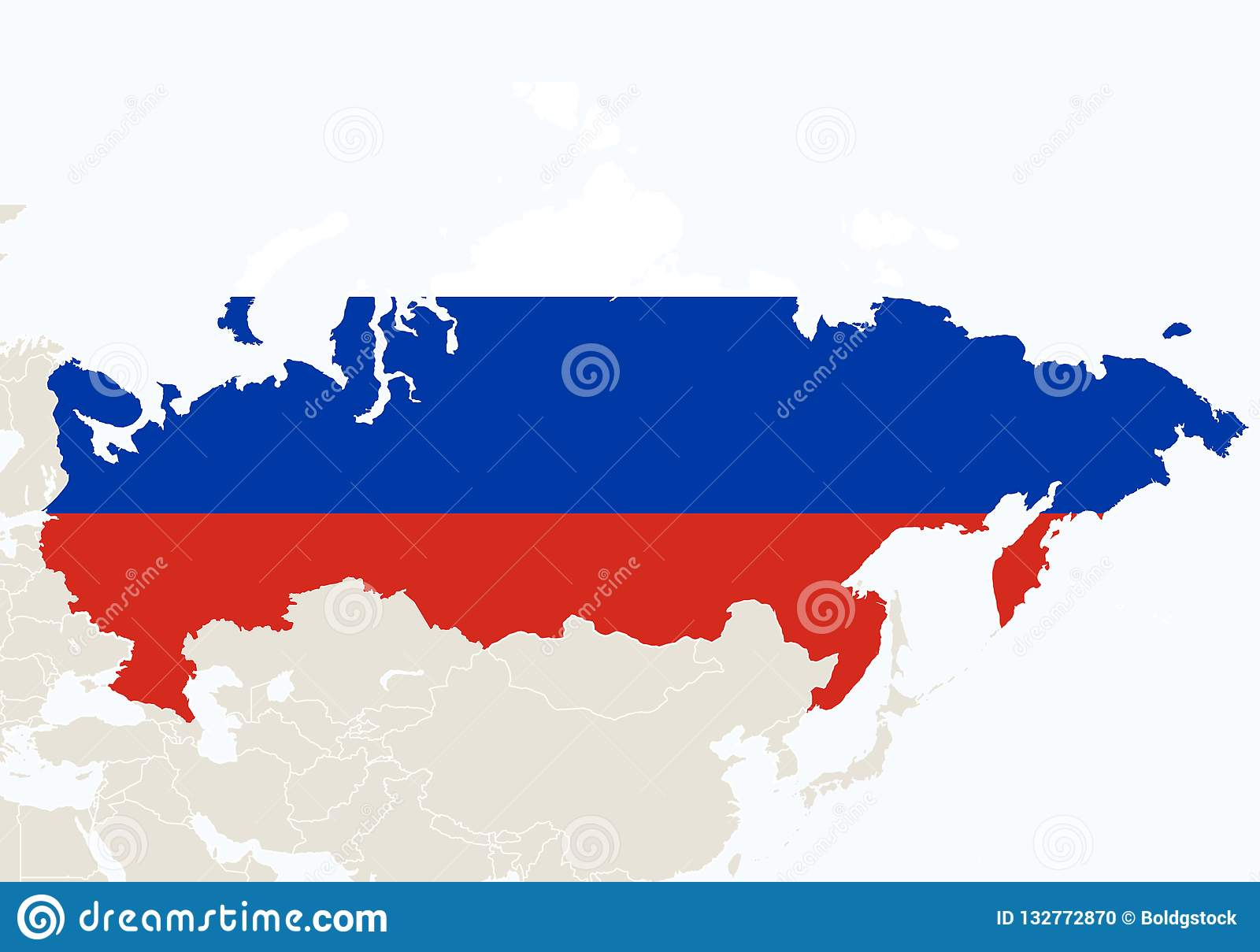 Karte Russland Asien.Asien Mit Hervorgehobener Russland Karte Vektor Abbildung
