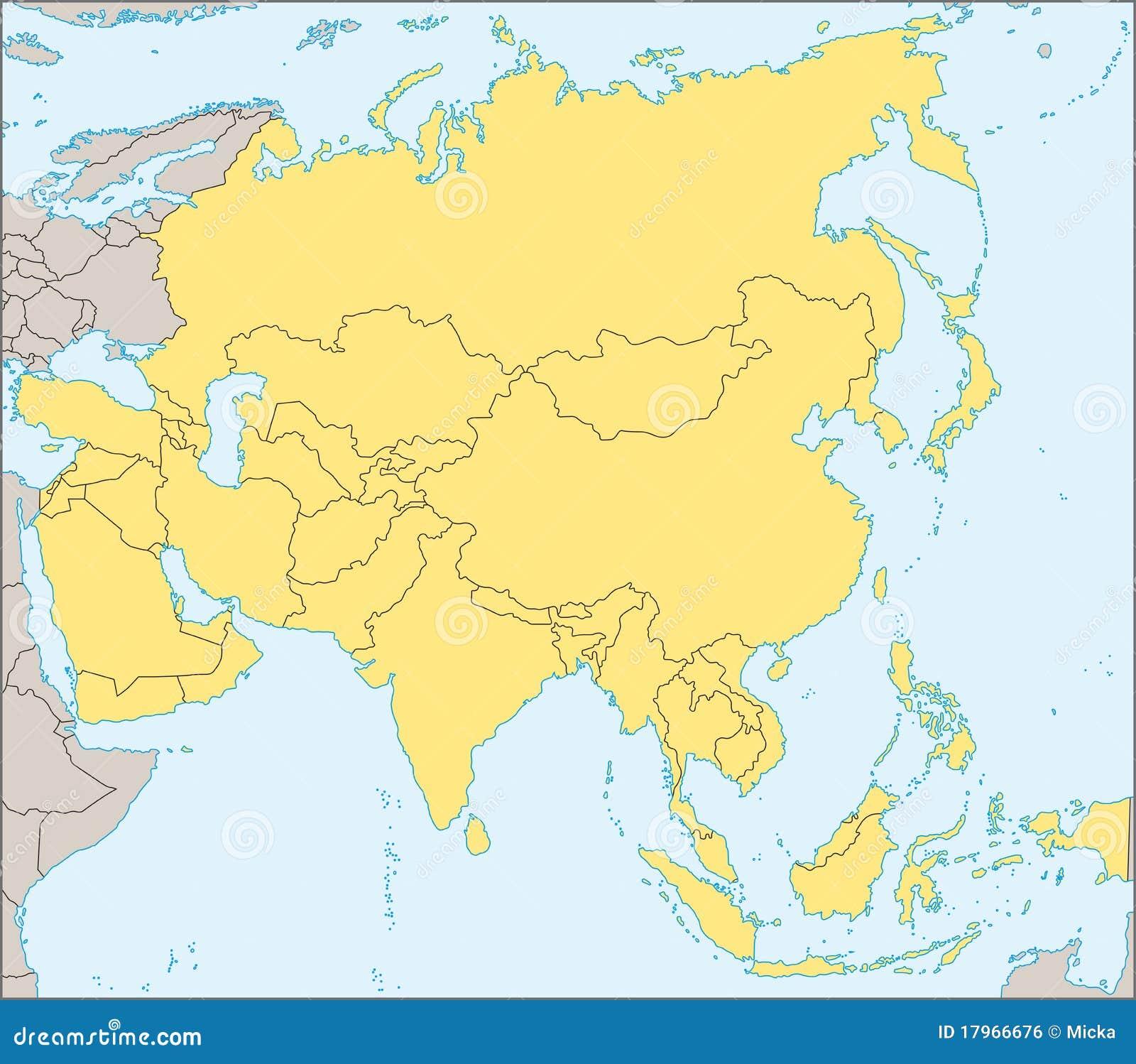 Politische Karte Asien.Asien Politische Karte Vektor Abbildung Illustration Von Ränder