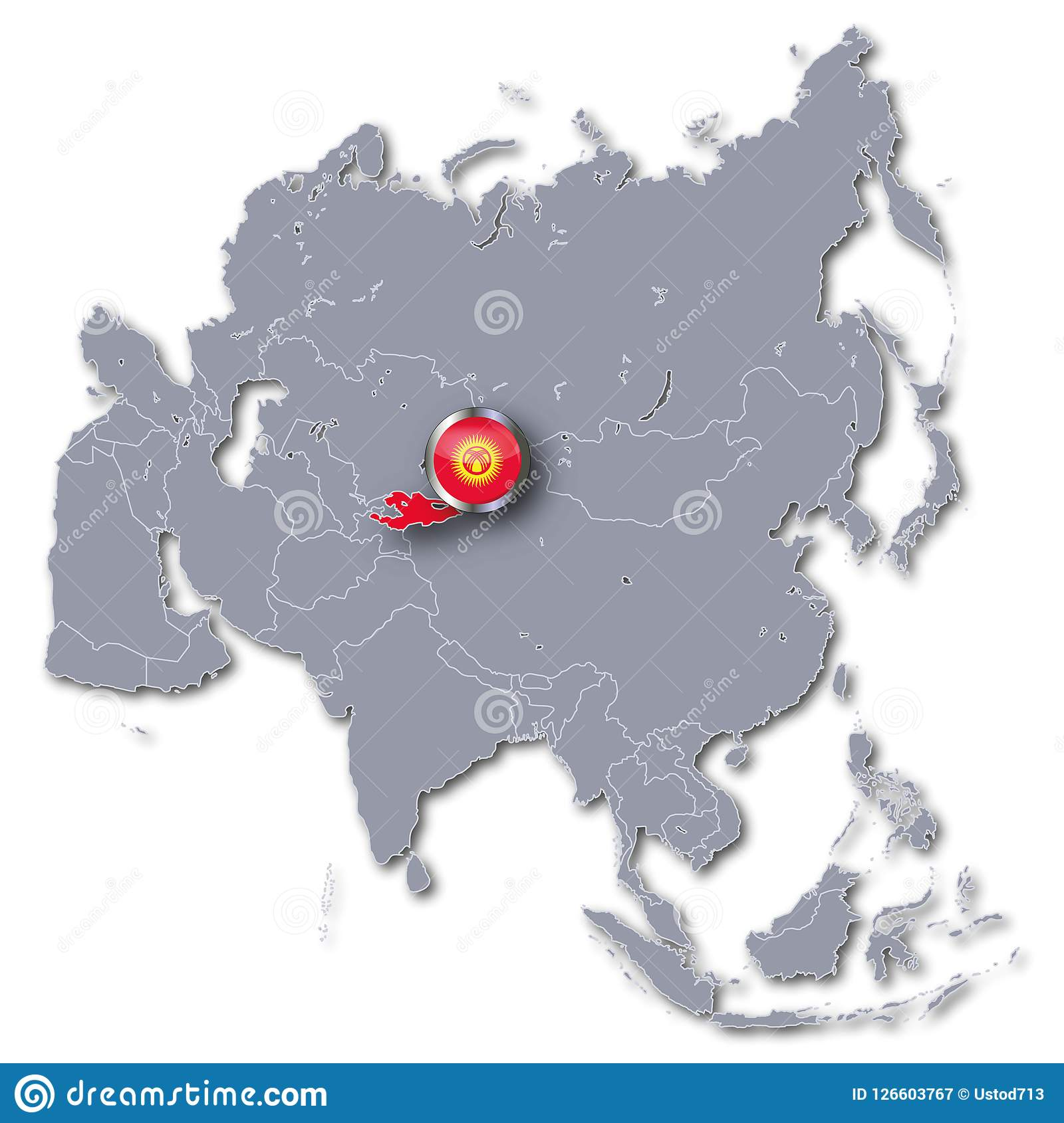Map Of Asia Kyrgyzstan.Asia Map With Kyrgyzstan Stock Illustration Illustration Of Gray