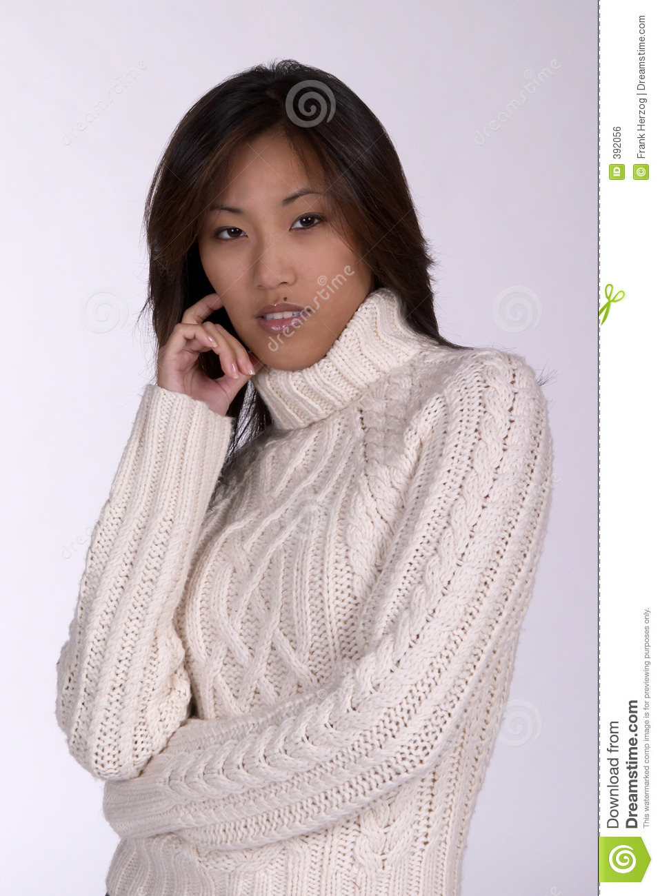 Asin woman in winter sweater