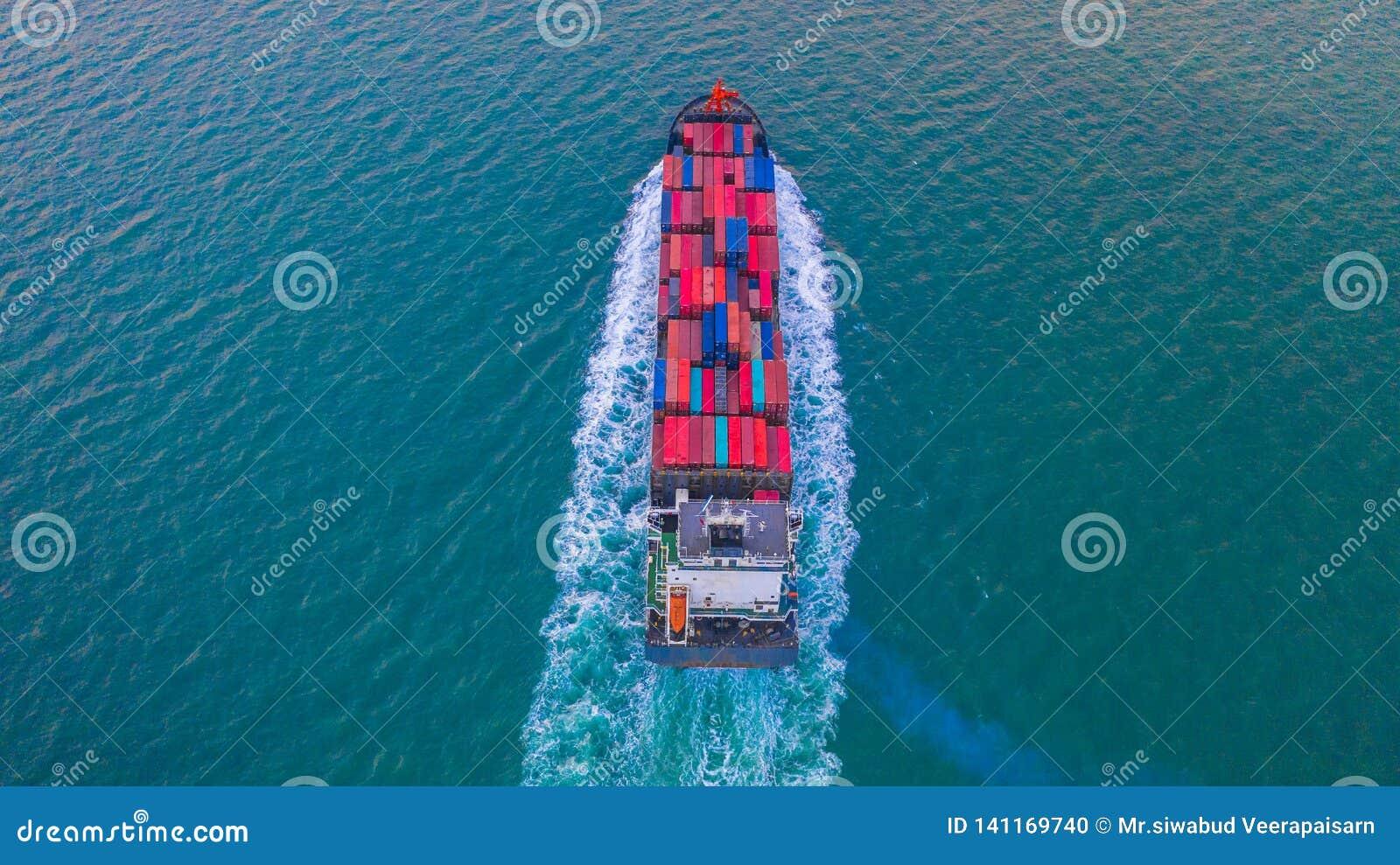 Ask för behållare för behållareskepp bärande för import- och exportaffären som är logistisk och trans. med behållareskeppet i det