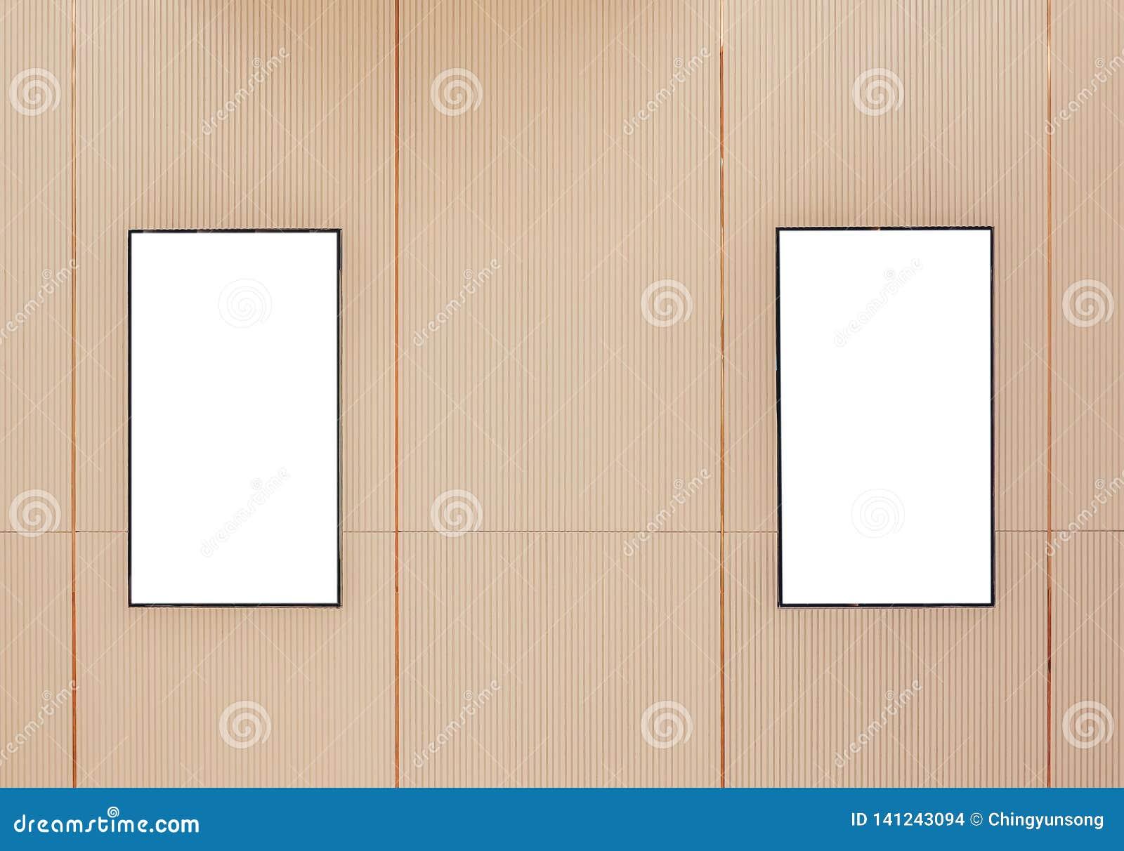 Ask för ljus för affisch för film två eller lightbox eller affischtavlor för skärmrambio med vitt tomt utrymme längs gångbanan i