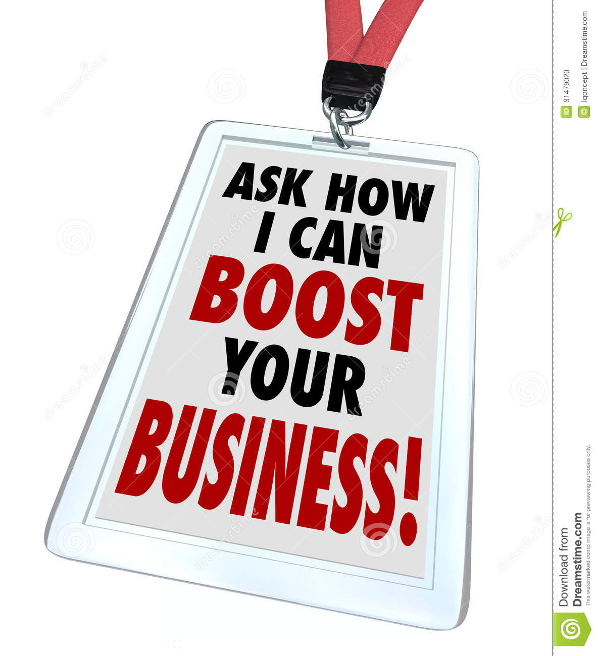 Ask me how i can boost your business badge stock photo for Advertise for companies