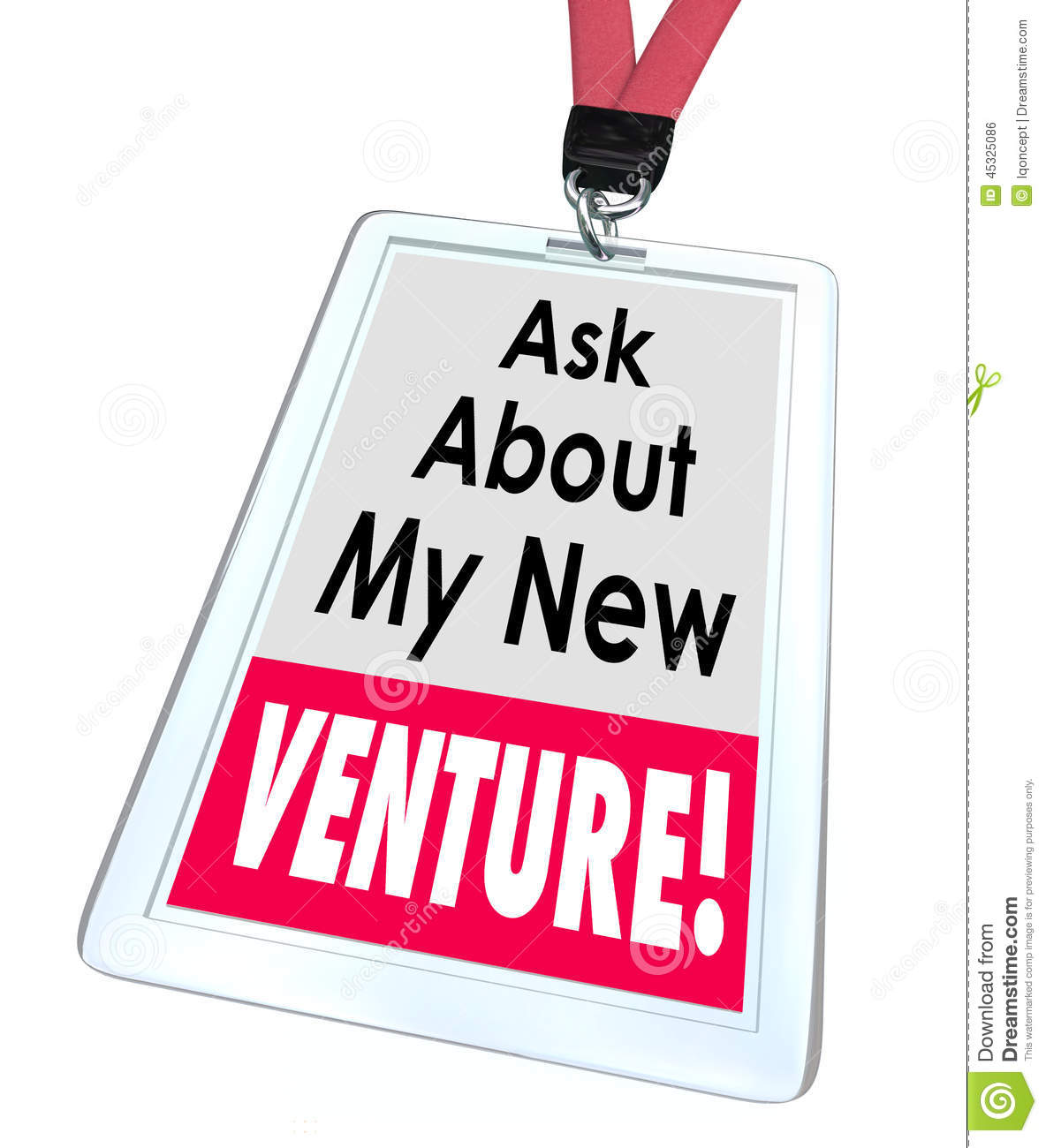 Ask About My New Venture words on a badge or name tag to illustrate a ...