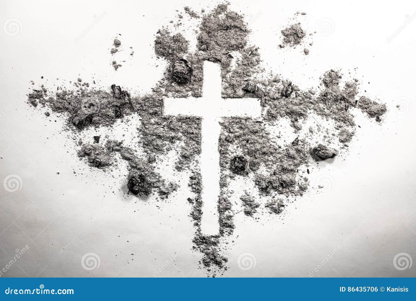 Askaonsdag kors, kors som göras av askaen, damm som kristen rel