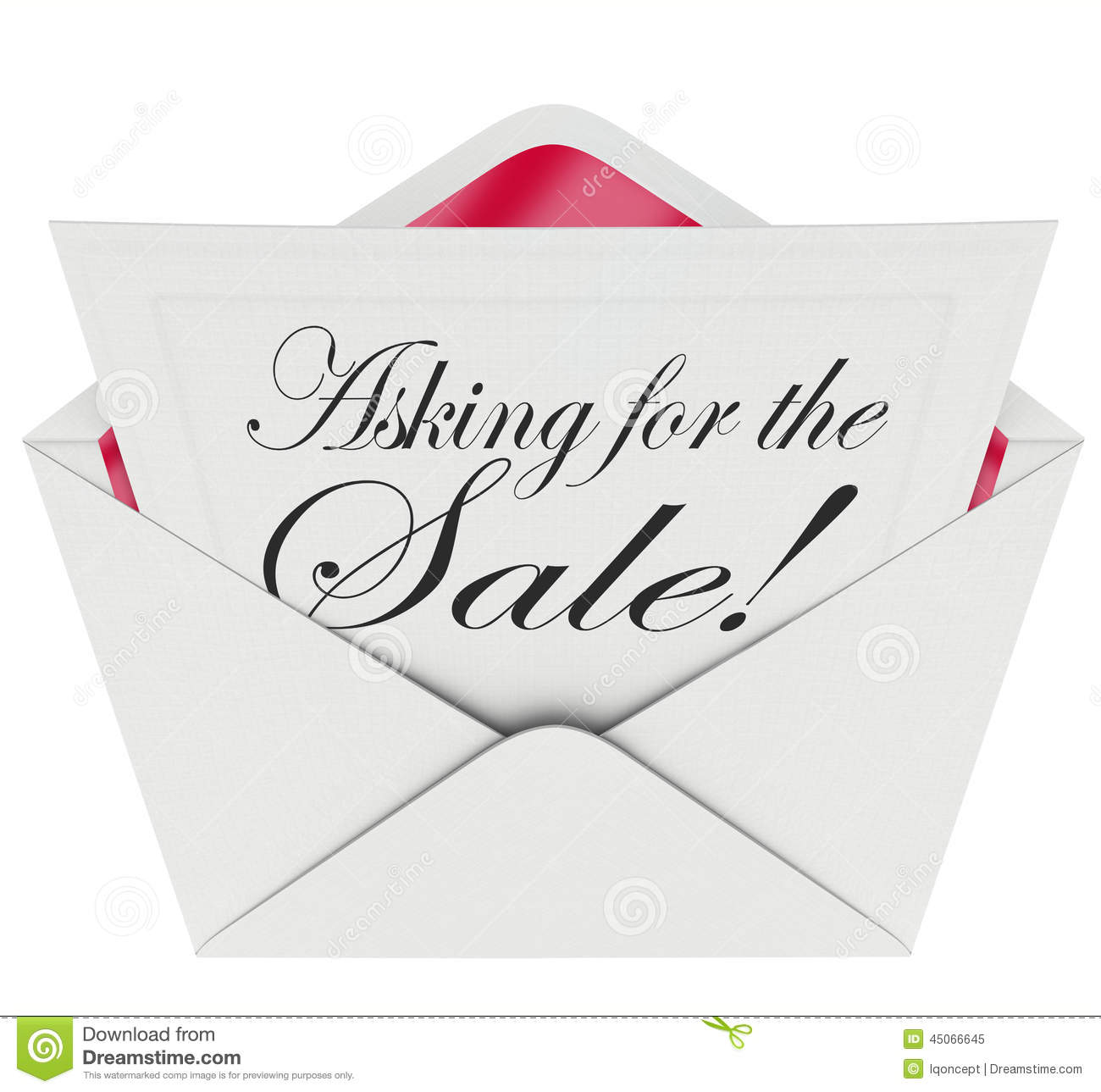 Asking For The Sale Envelope Letter Message Sales Close