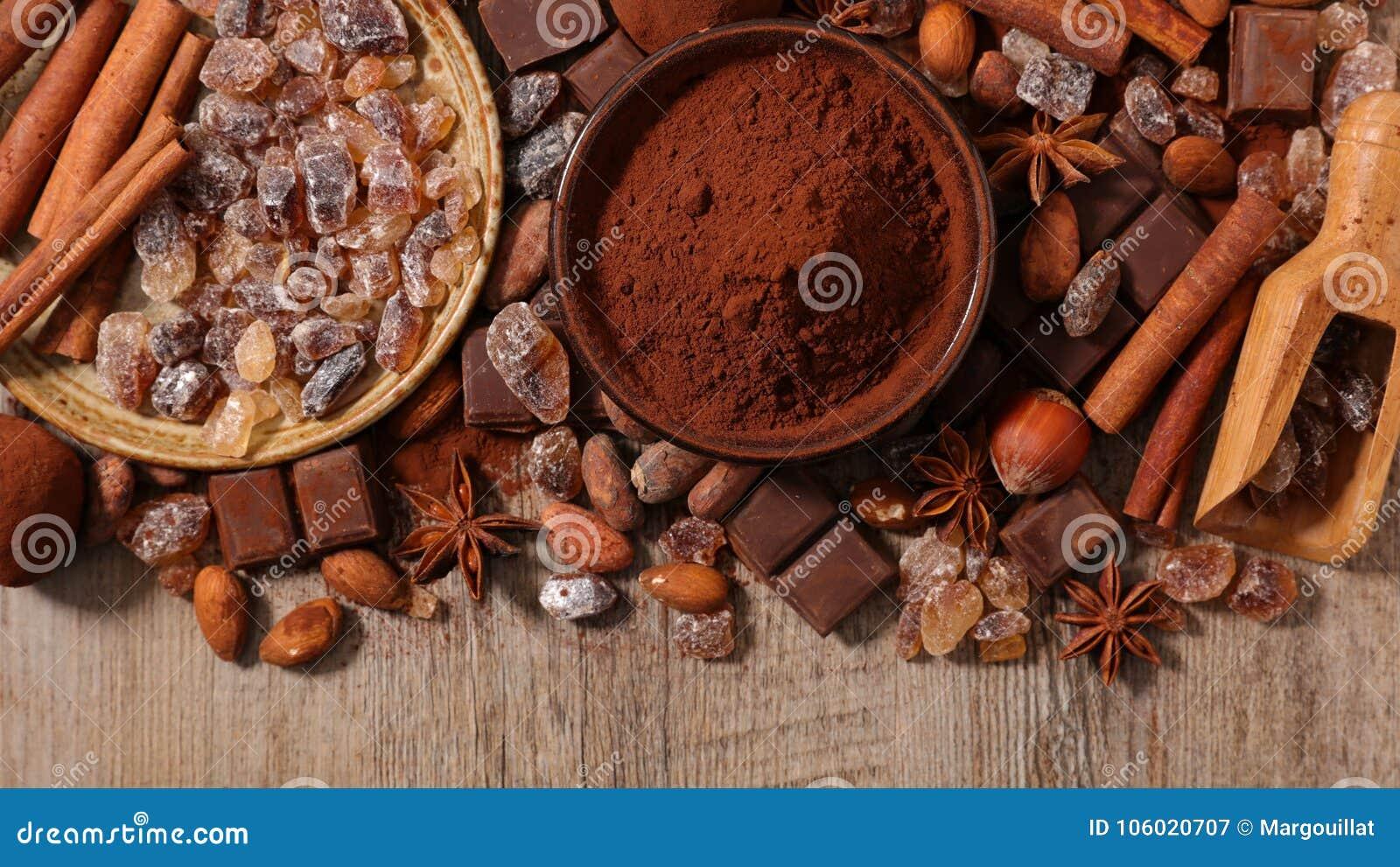 Asortowany kakao, dokrętka i cukier,