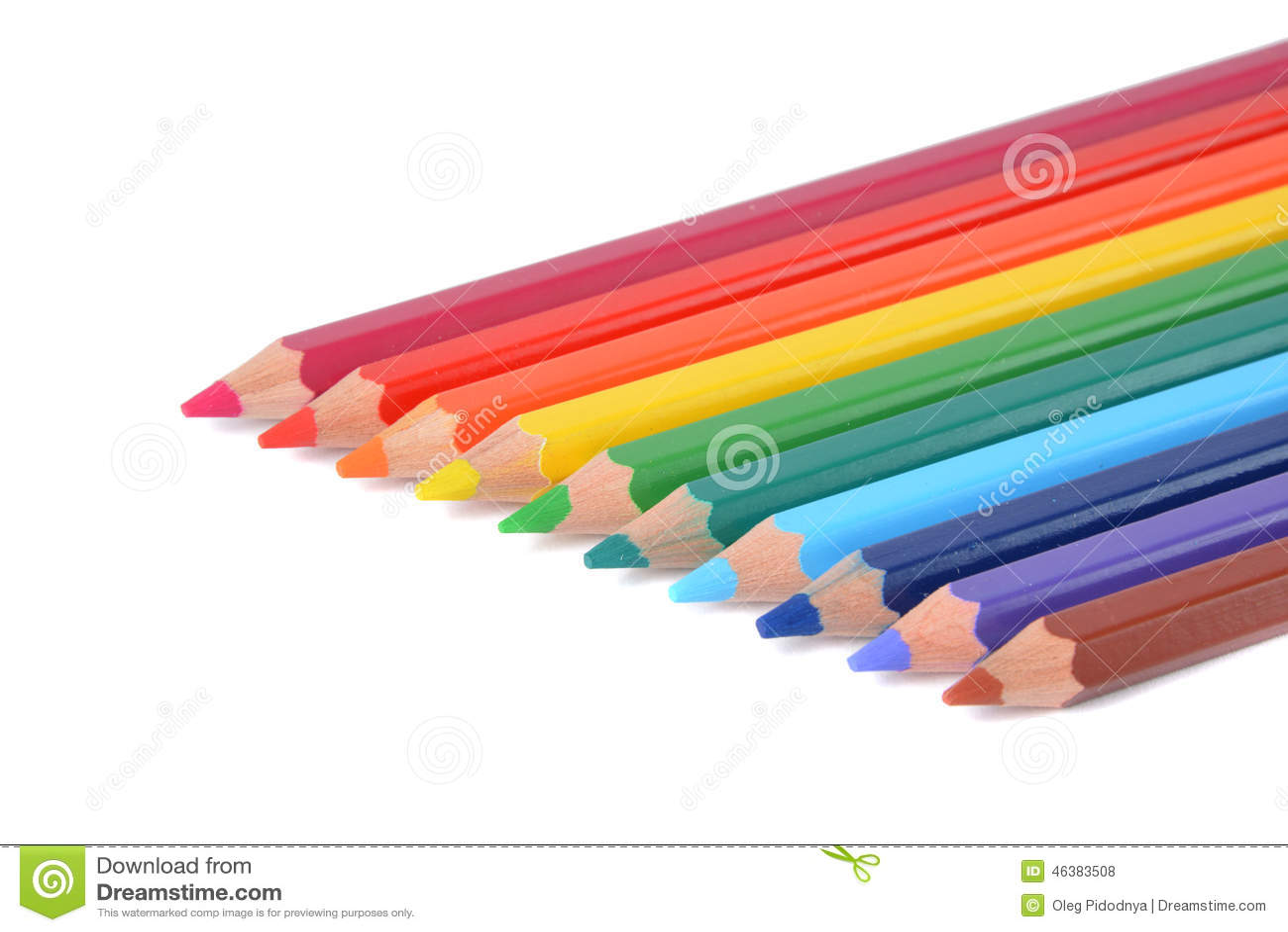 Asortyment barwioni ołówki nad bielem