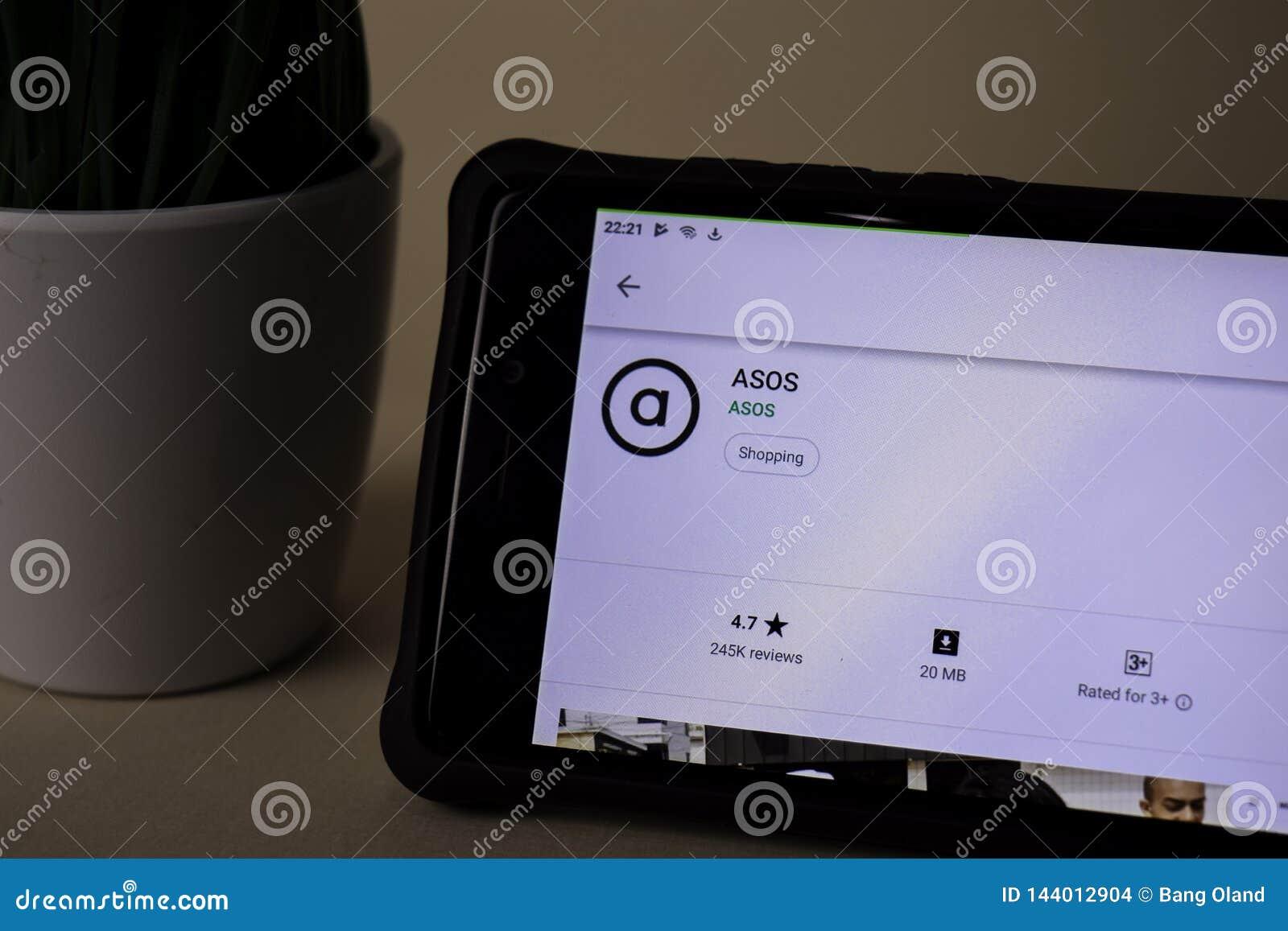 ASOS dev zastosowanie na Smartphone ekranie ASOS jest freeware przeglądarką internetową rozwijać