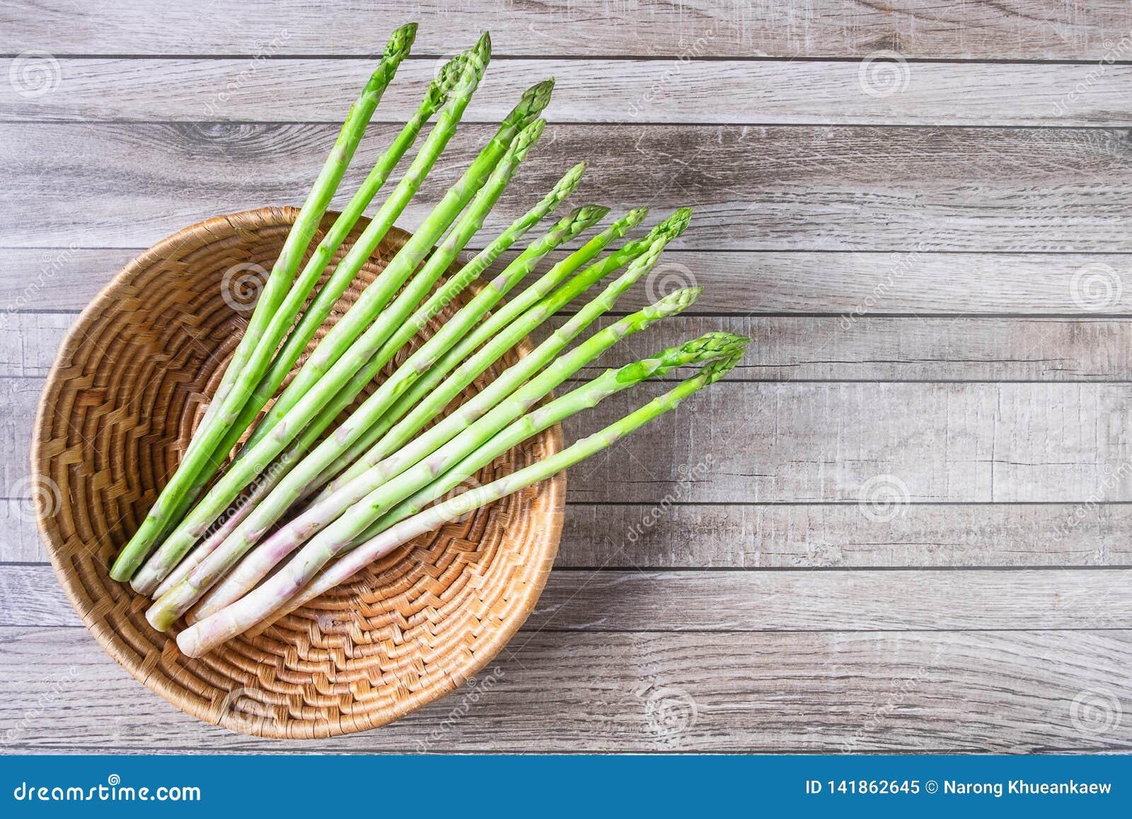.Asparagus in a basket on a table