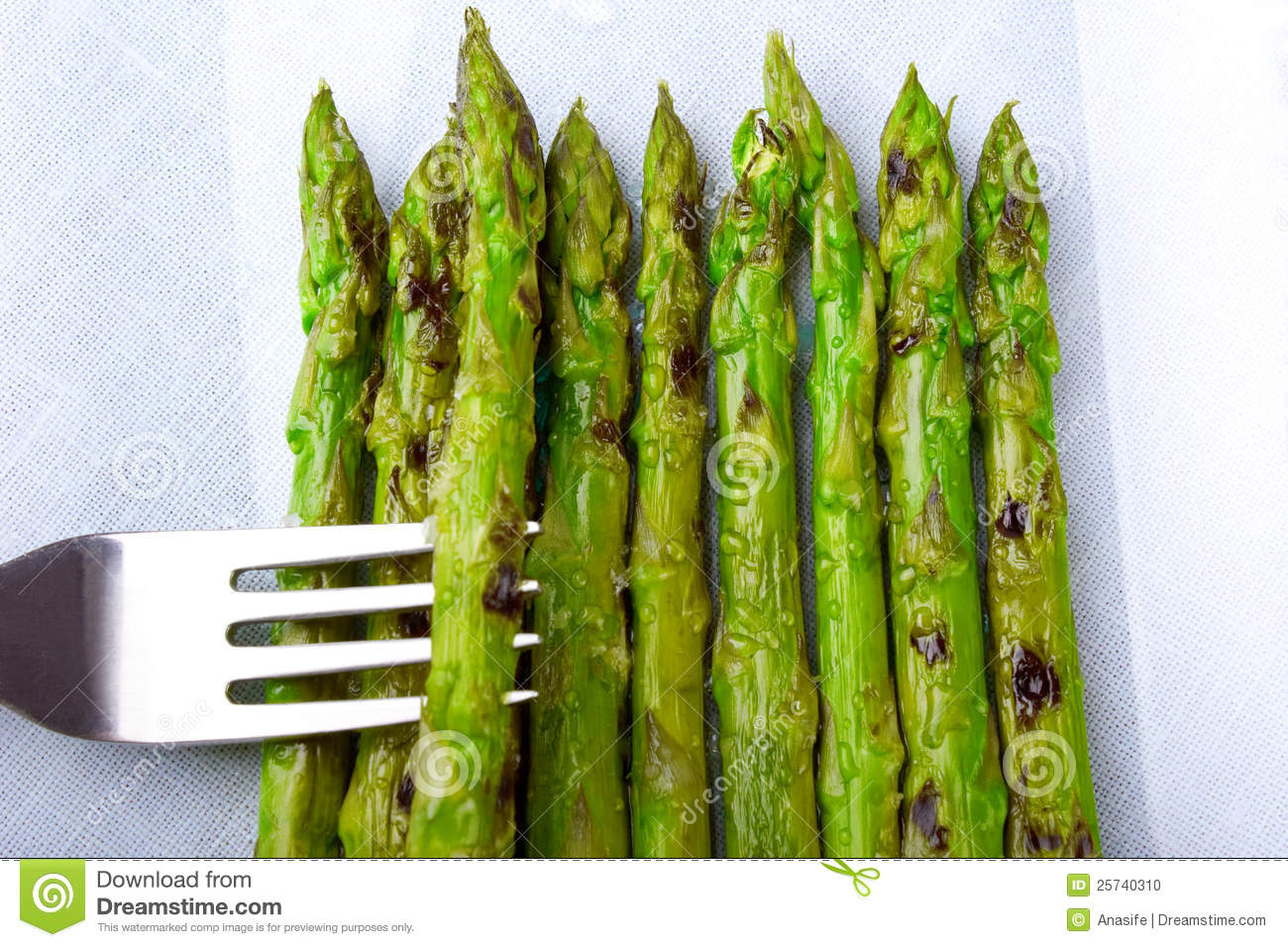 Asparagus with droplets of steam