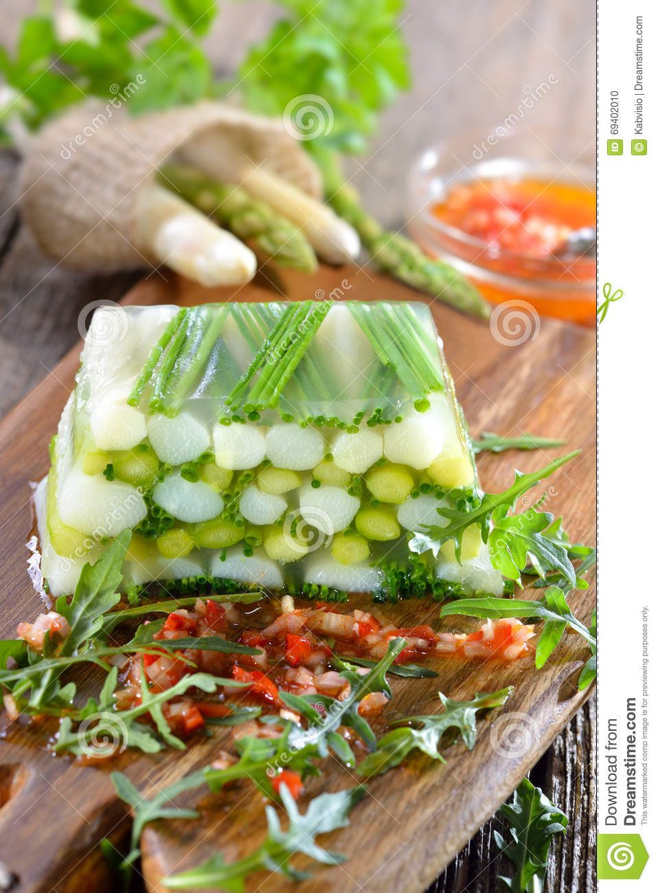 Asparagus Jelly With Vinaigrette Stock Photo - Image: 69402010