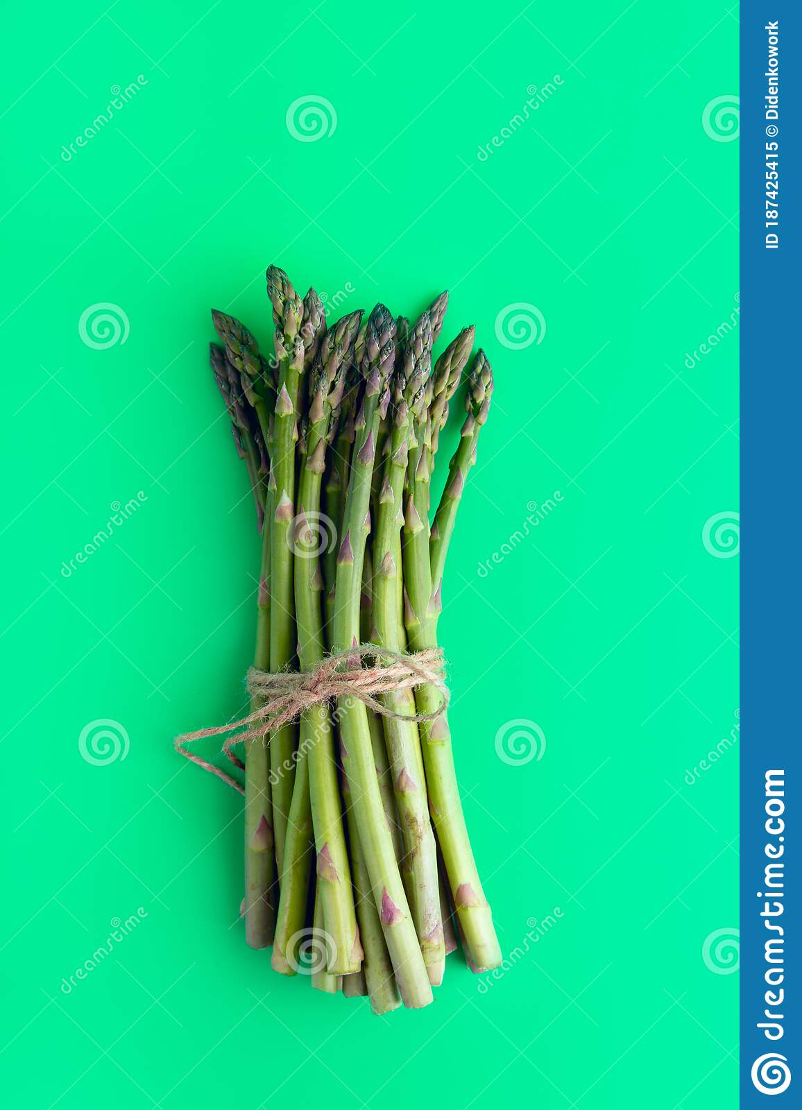 Asparagus On A Plain Green Background Stock Image Image Of Cooking Diet 187425415