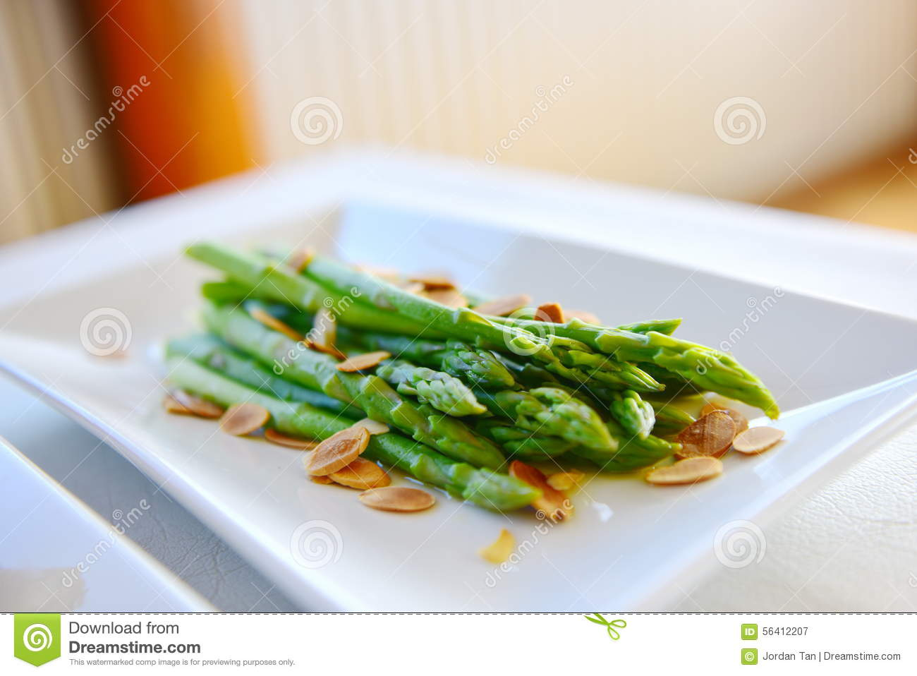 Asparagus Served With Almond Stock Photo - Image: 56412207