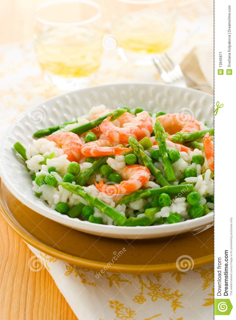 Asparagus Shrimp Risotto Stock Image - Image: 13945871