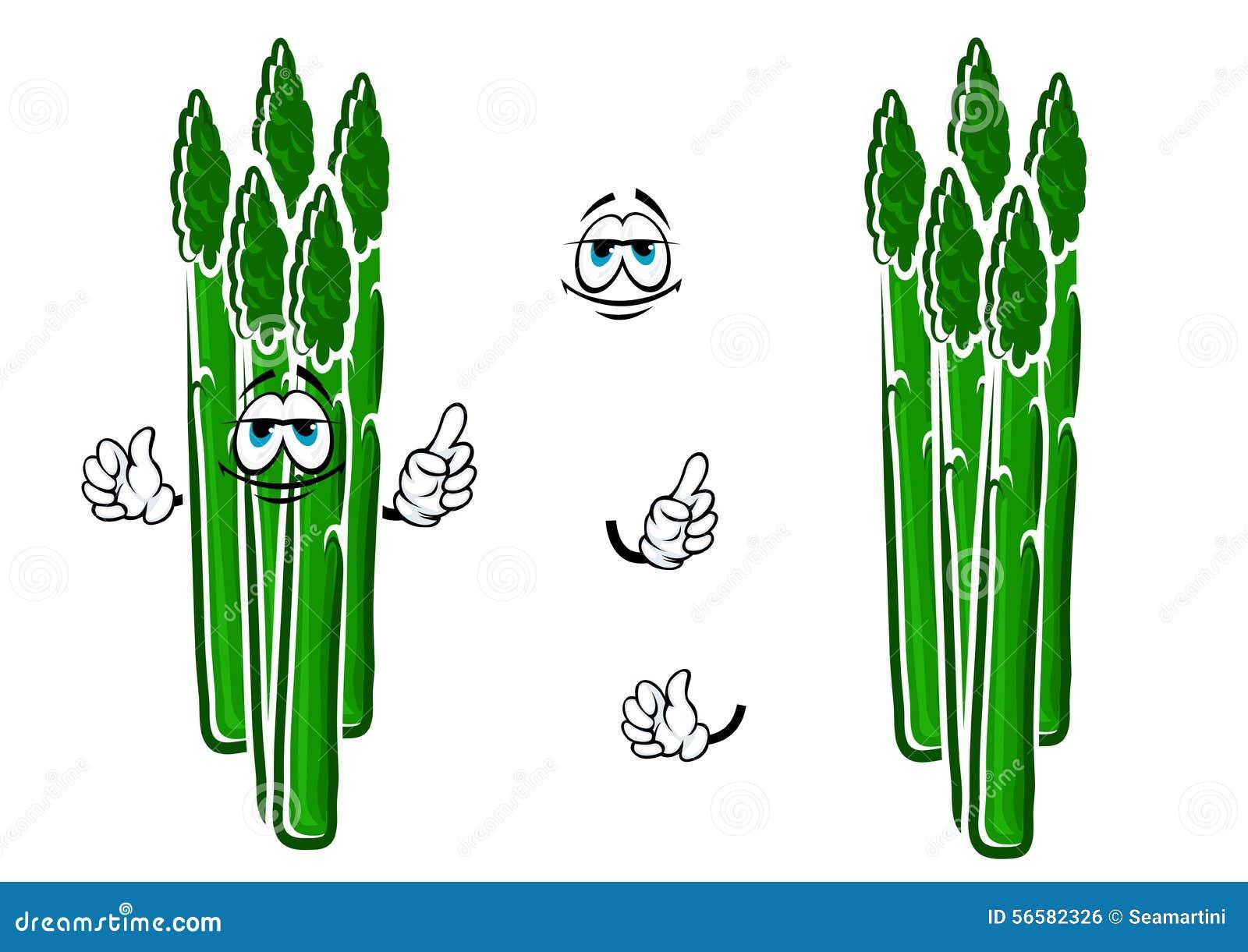 Asparagus Vegetable Spears Cartoon Character Stock Vector