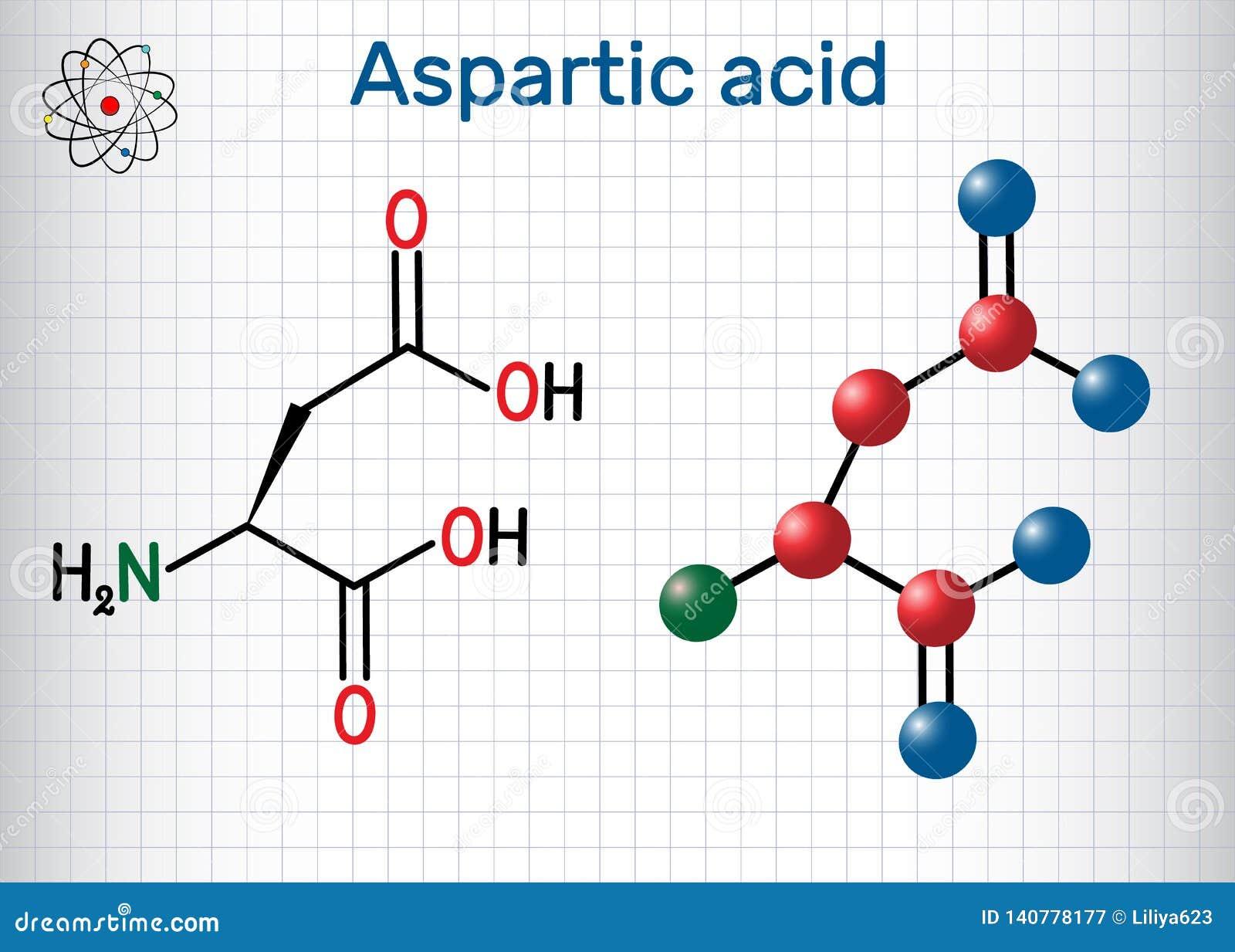 Aspartic syrligt l aspartic syra, egyptisk huggorm, D, proteinogenic aminosyramolekyl för aspartate Ark av papper i en bur strukt