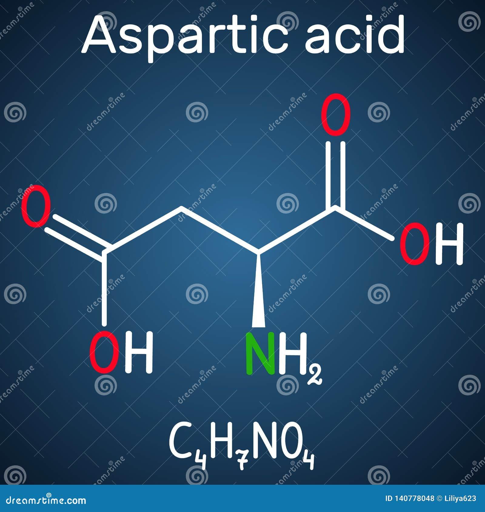 Aspartic syrligt l aspartic syra, egyptisk huggorm, D, proteinogenic aminosyramolekyl för aspartate Strukturell kemisk formel på