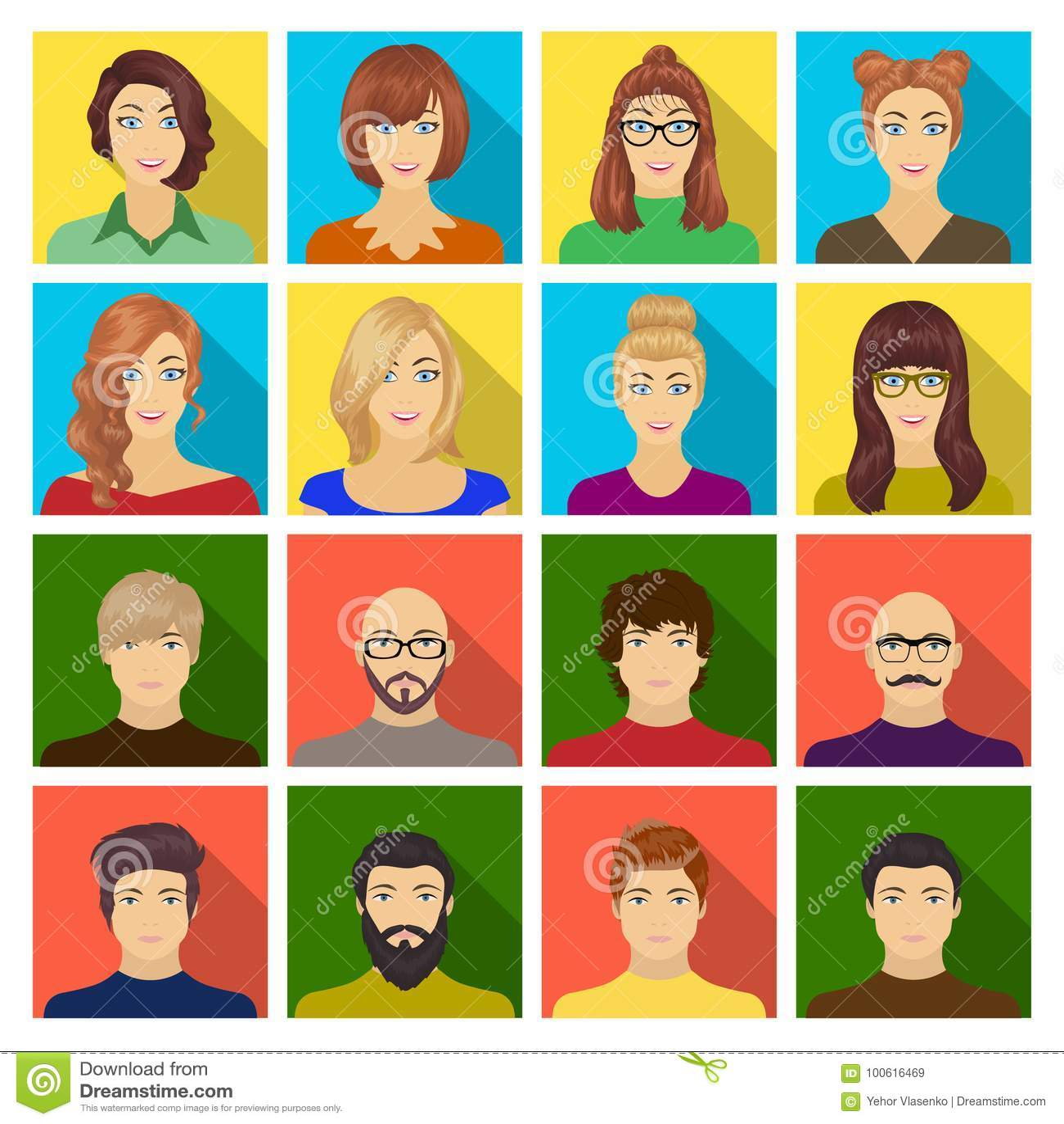 Aspecto de la muchacha en vidrios, de un individuo con un peinado, de un hombre calvo con una barba y de otras variedades de cara