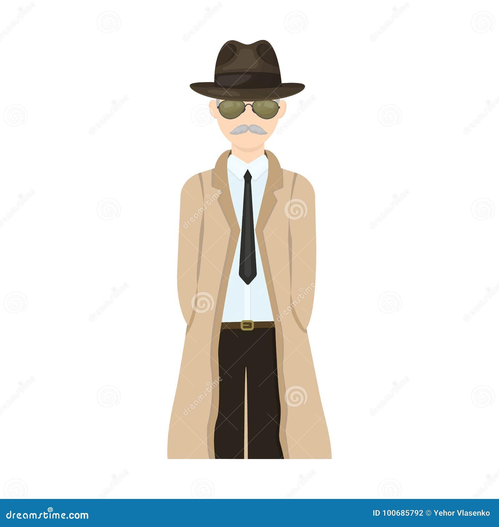 Aspecto del detective Sirva al detective en un solo icono del sombrero y del impermeable en la acción del símbolo del vector del