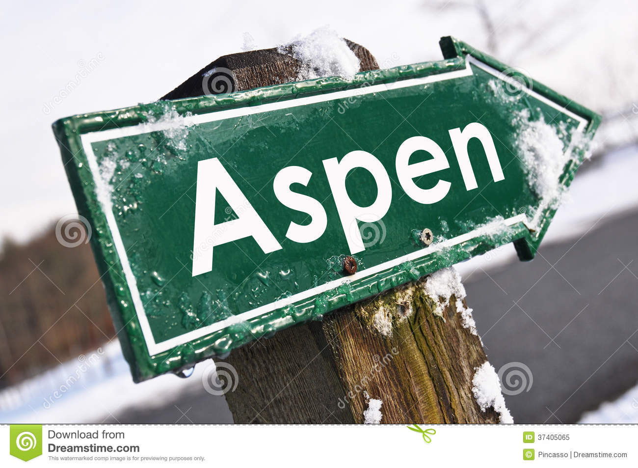 Download ASPEN road sign stock image. Image of pointer, empty - 37405065