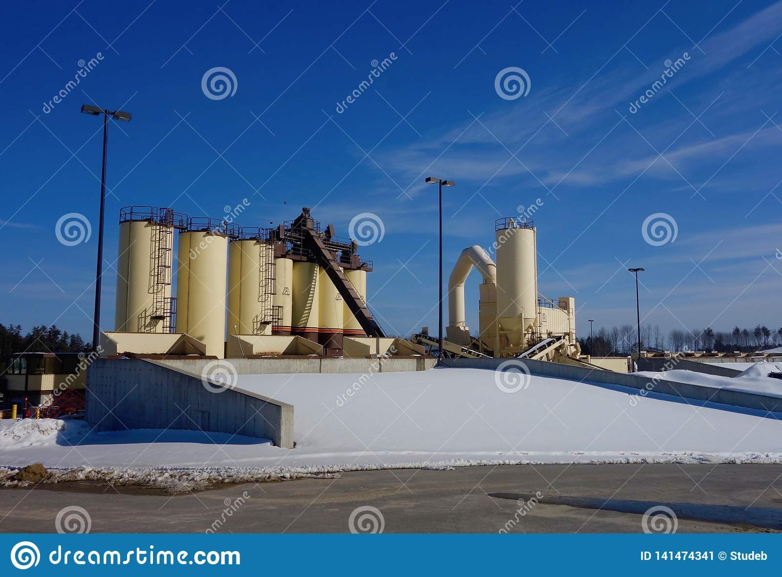 Asphalt production machinery, Cumberland County Maine, March 8, 2019
