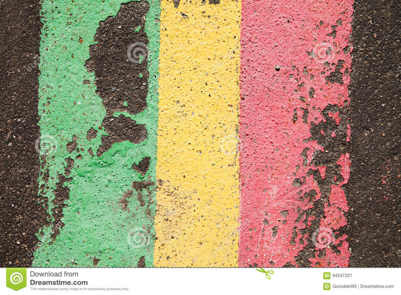 Asphalt Road Abstract Colored Lines  Green Yellow Red Paint