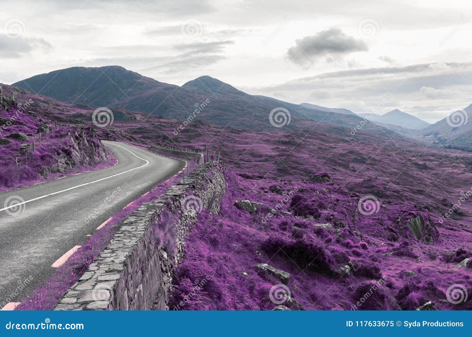 Asphalt road and hills at connemara in ireland