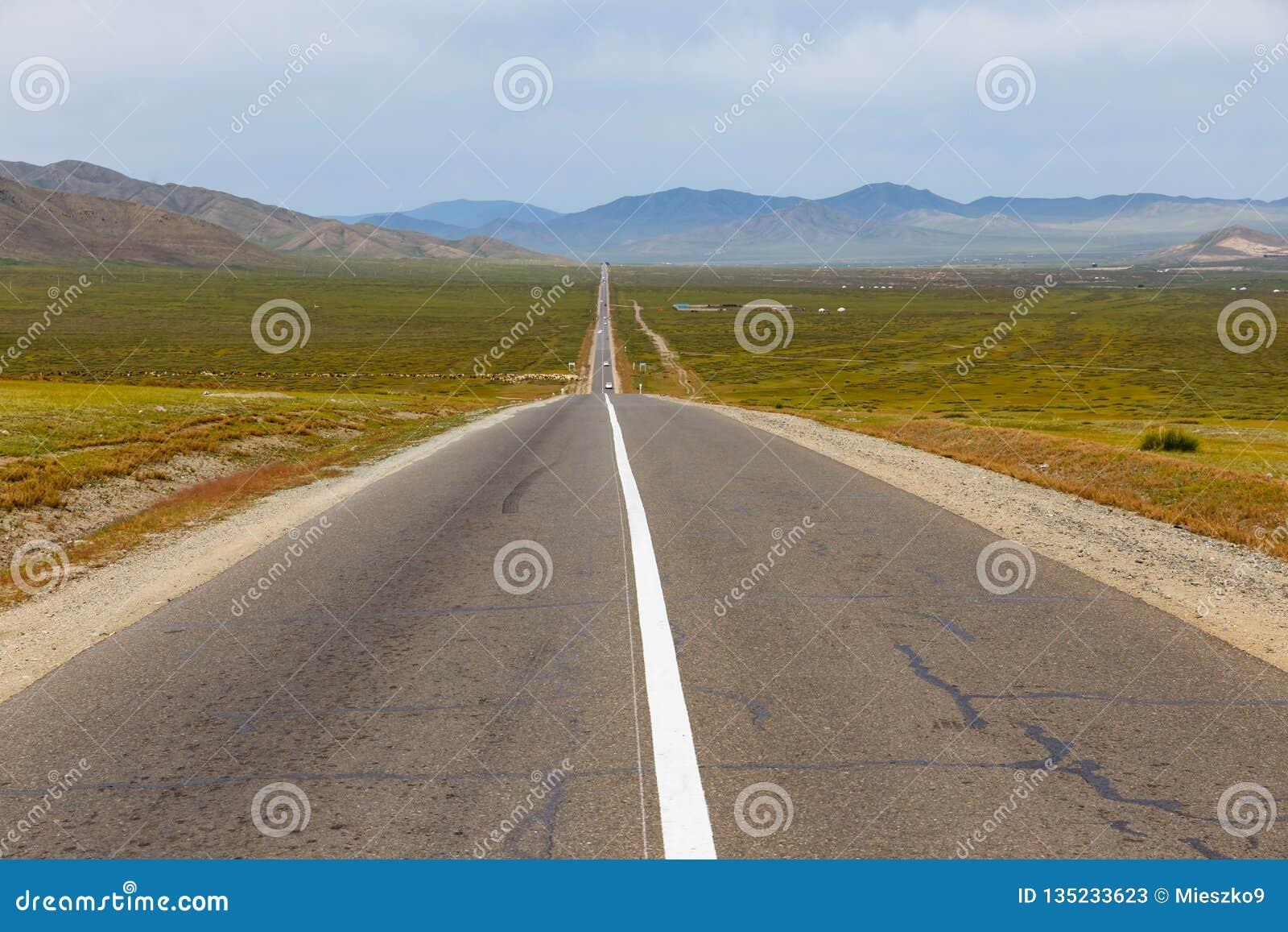 Asphalt road Sukhe Bator - Darkhan in Mongolia