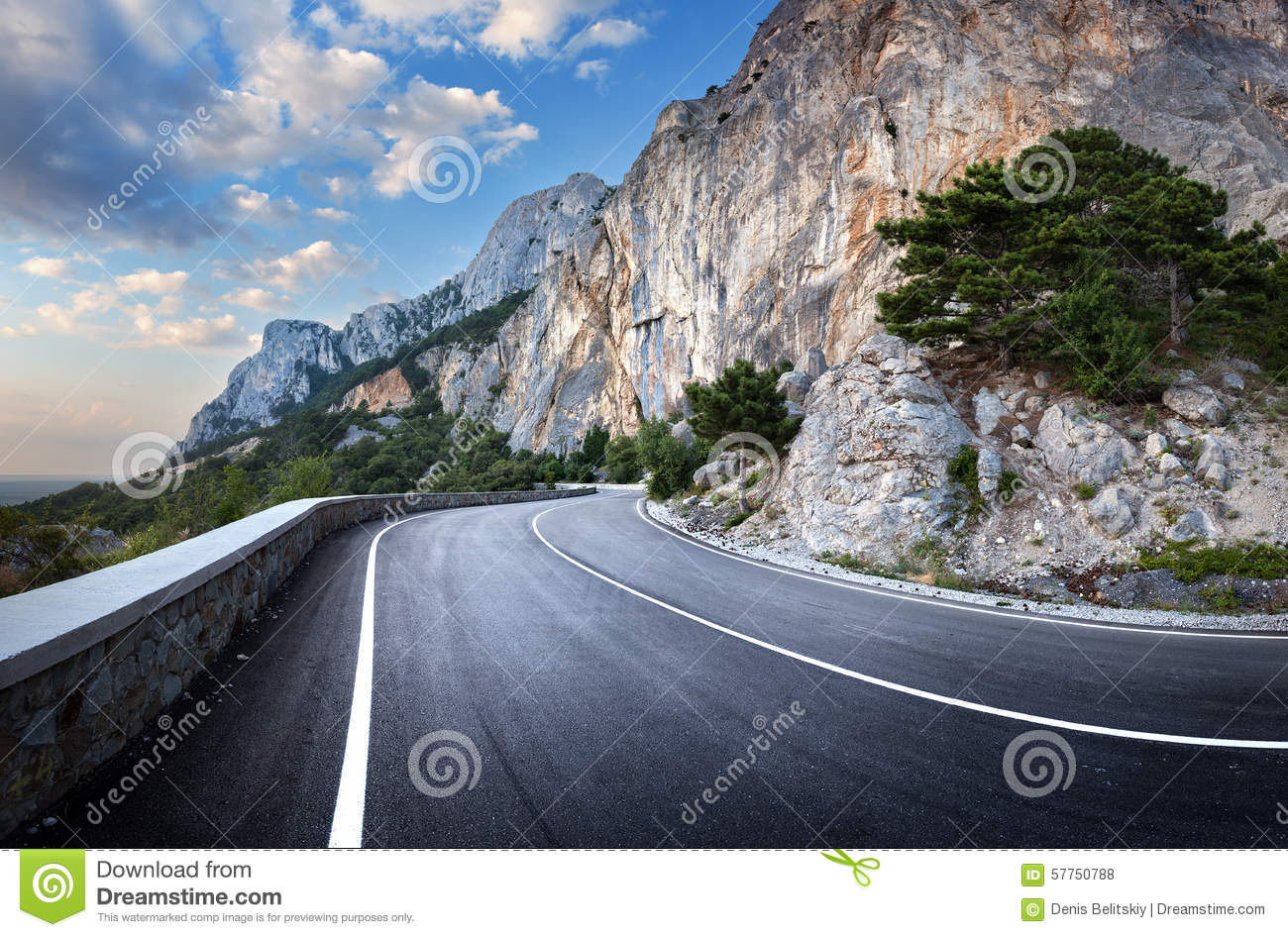 Download Asphalt Road In Summer Forest At Sunset. Crimean Mountains Stock Photo - Image of outdoor, countryside: 57750788