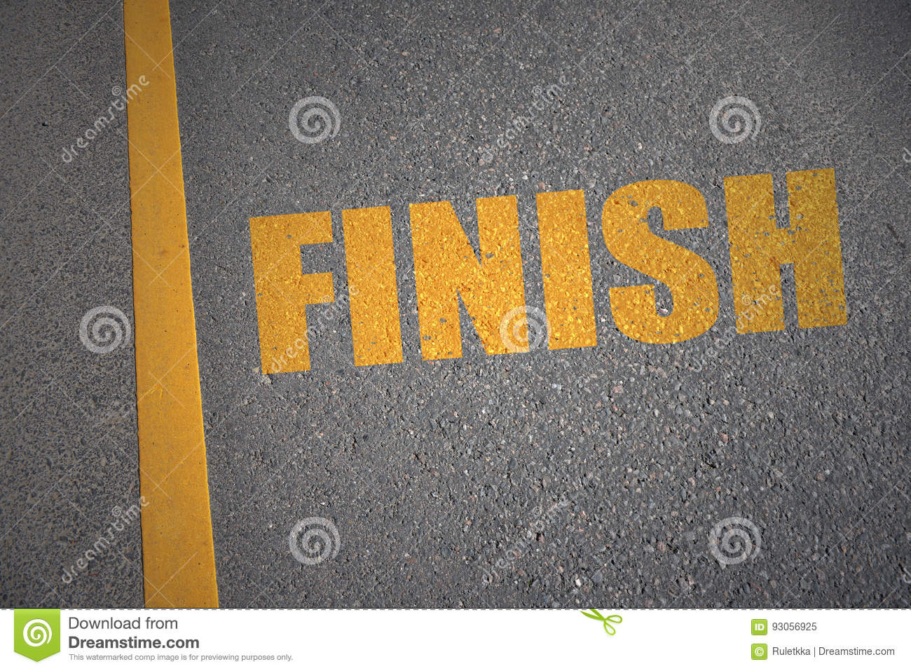 Asphalt Road With Text Finish Near Yellow Line Stock Image