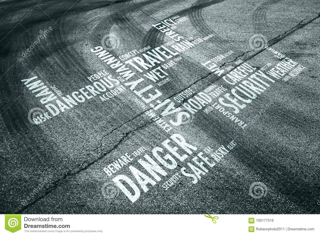Road with danger word cloud